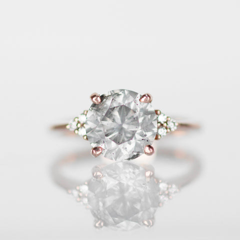 Imogene Ring with Misty Gray and White Diamonds in 14k Rose Gold - Ready to Size and Ship