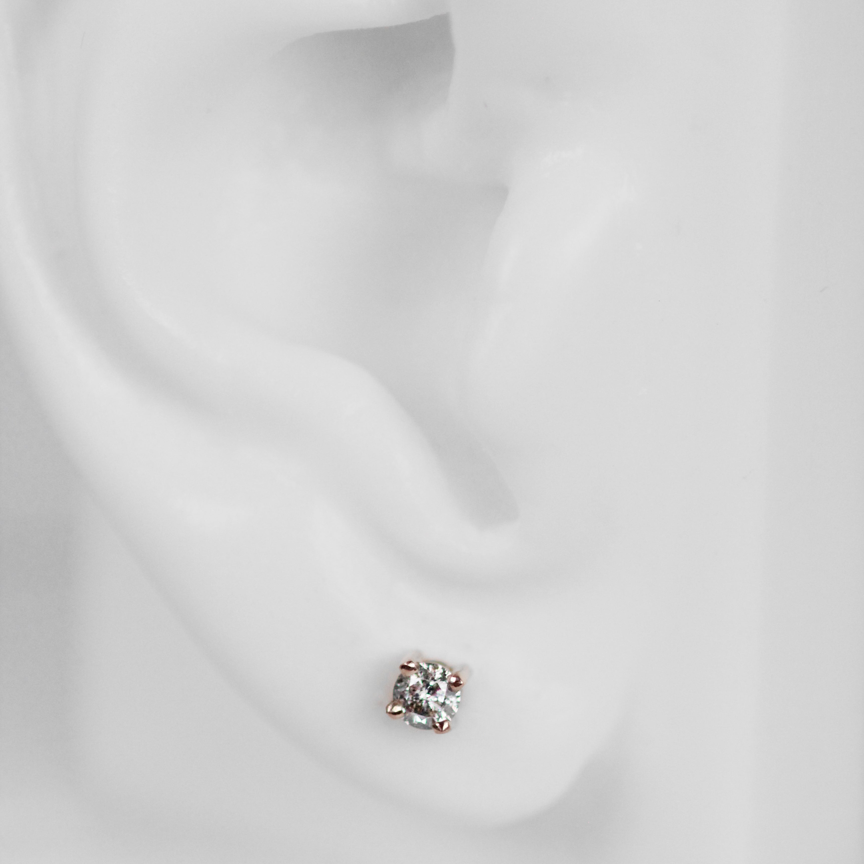14k Gold Earring Studs with Gray Celestial Diamonds- Ready to Ship - Celestial Diamonds ® by Midwinter Co.