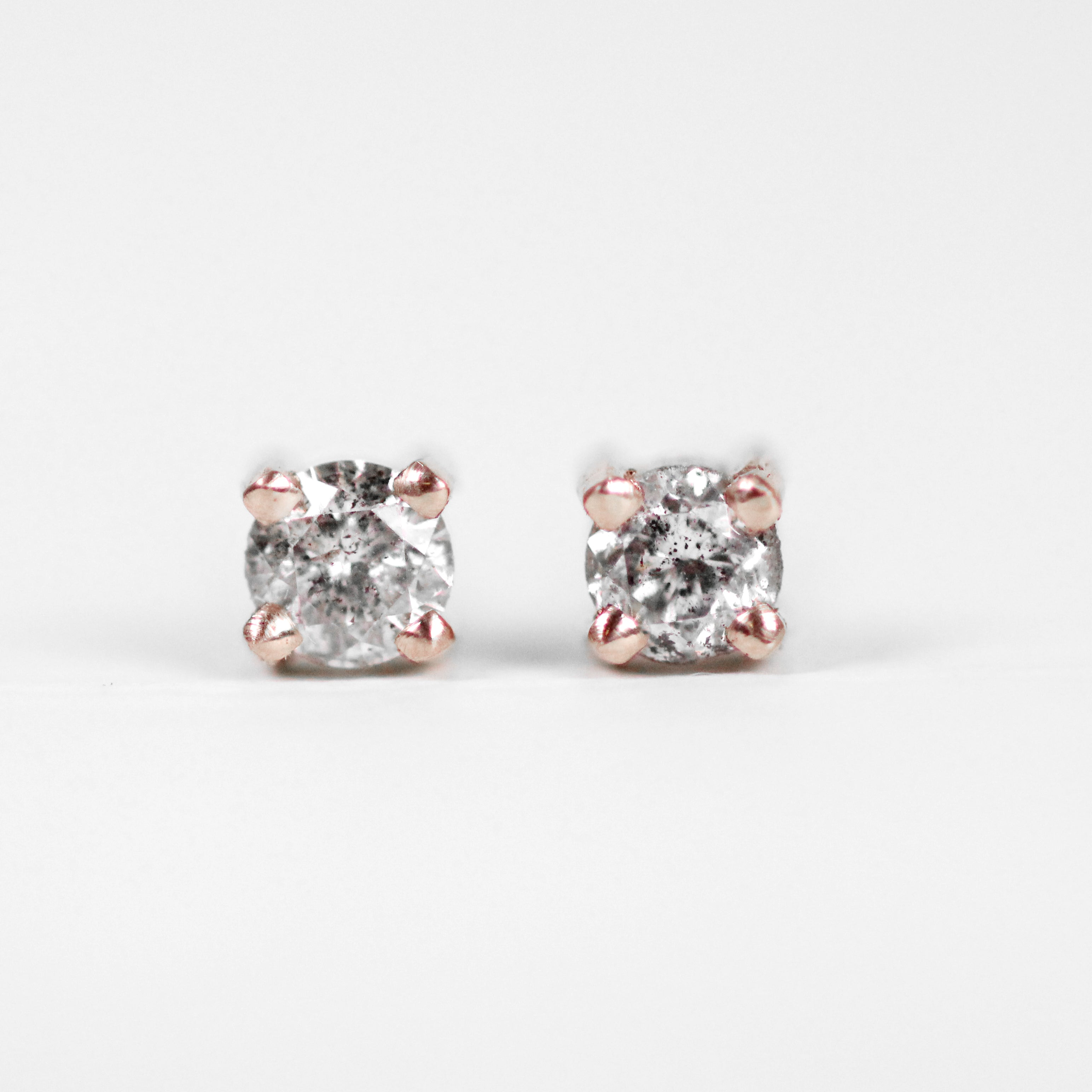 14k Gold Earring Studs with Gray Celestial Diamonds - Your Choice of Gold - Celestial Diamonds ® by Midwinter Co.
