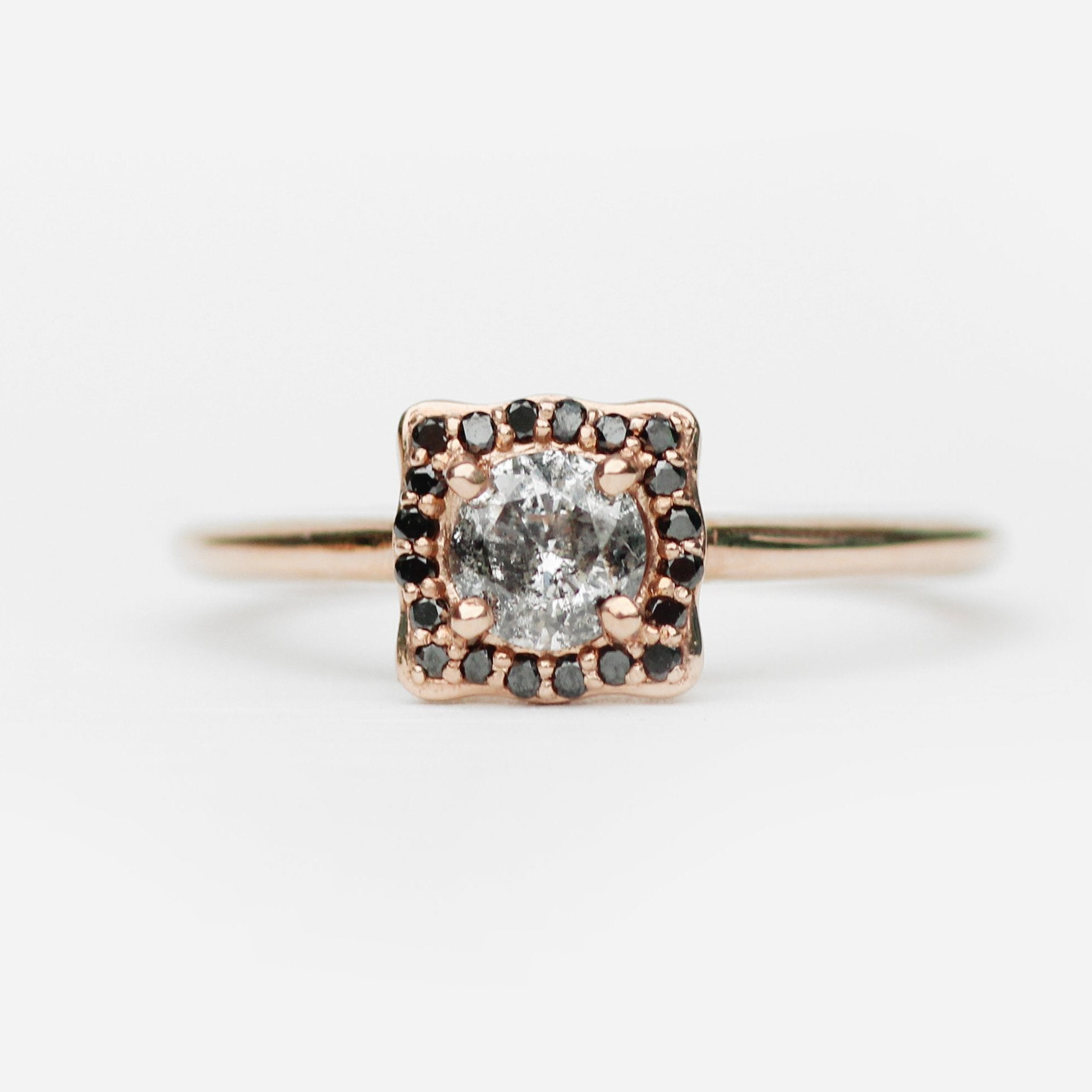 Hannah - Black diamond halo with dark gray celestial diamond - 10k rose gold - Ready to size and ship - Celestial Diamonds ® by Midwinter Co.
