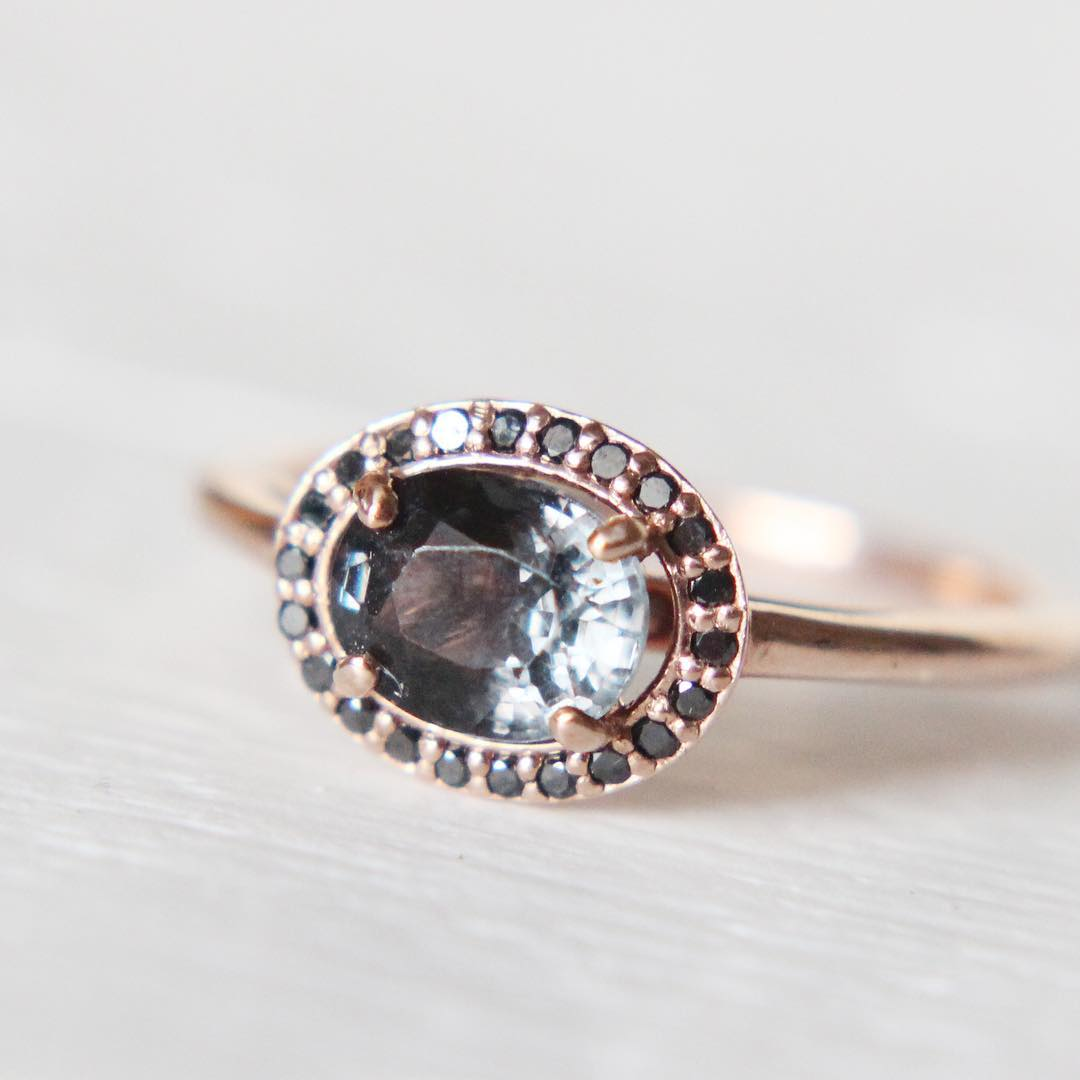 Amara Ring with a Dark Gray Slate Blue Spinel in a Black Diamond Halo - Ready to Size and Ship - Celestial Diamonds ® by Midwinter Co.