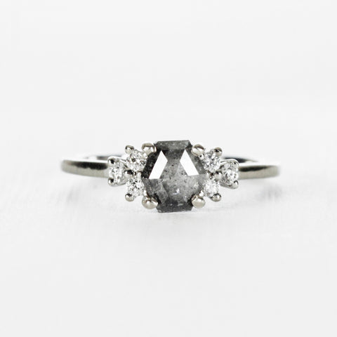 Veragene with misty gray hexagon rose cut diamond in 10k white gold ring - ready to size and ship