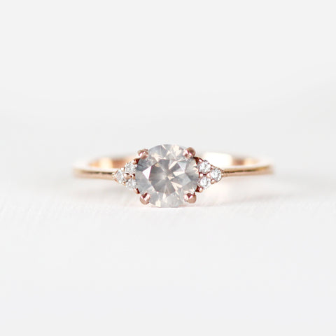 Imogene with misty gray diamond in 10k rose gold - ready to size and ship