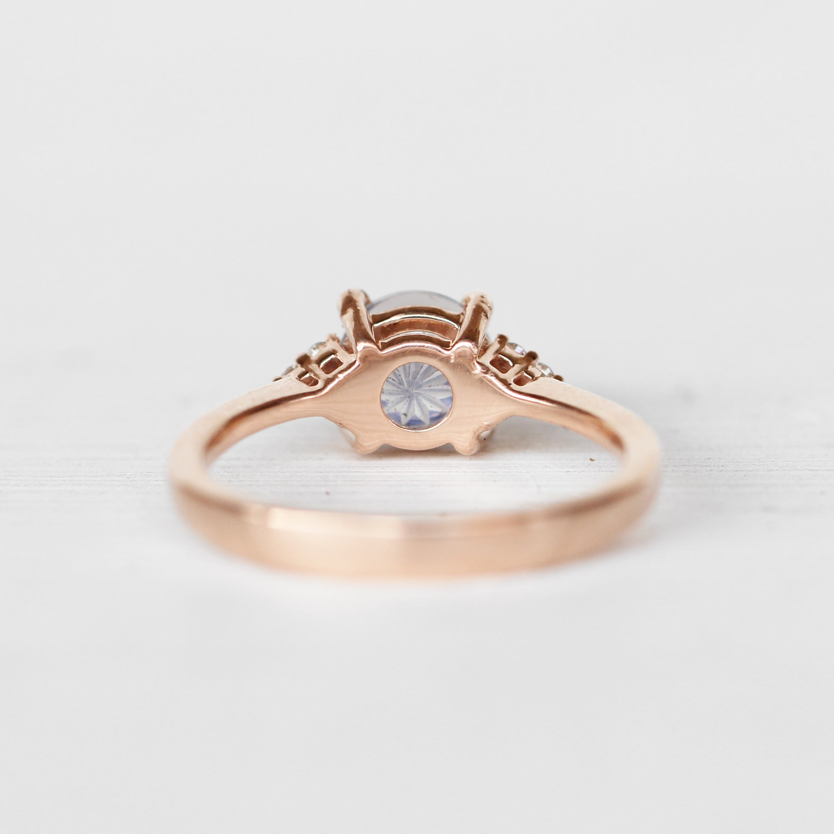 Imogene Ring with a 1.3 ct Fluorite Quartz in 14k Rose Gold - Ready to Size and Ship - Salt & Pepper Celestial Diamond Engagement Rings and Wedding Bands  by Midwinter Co.