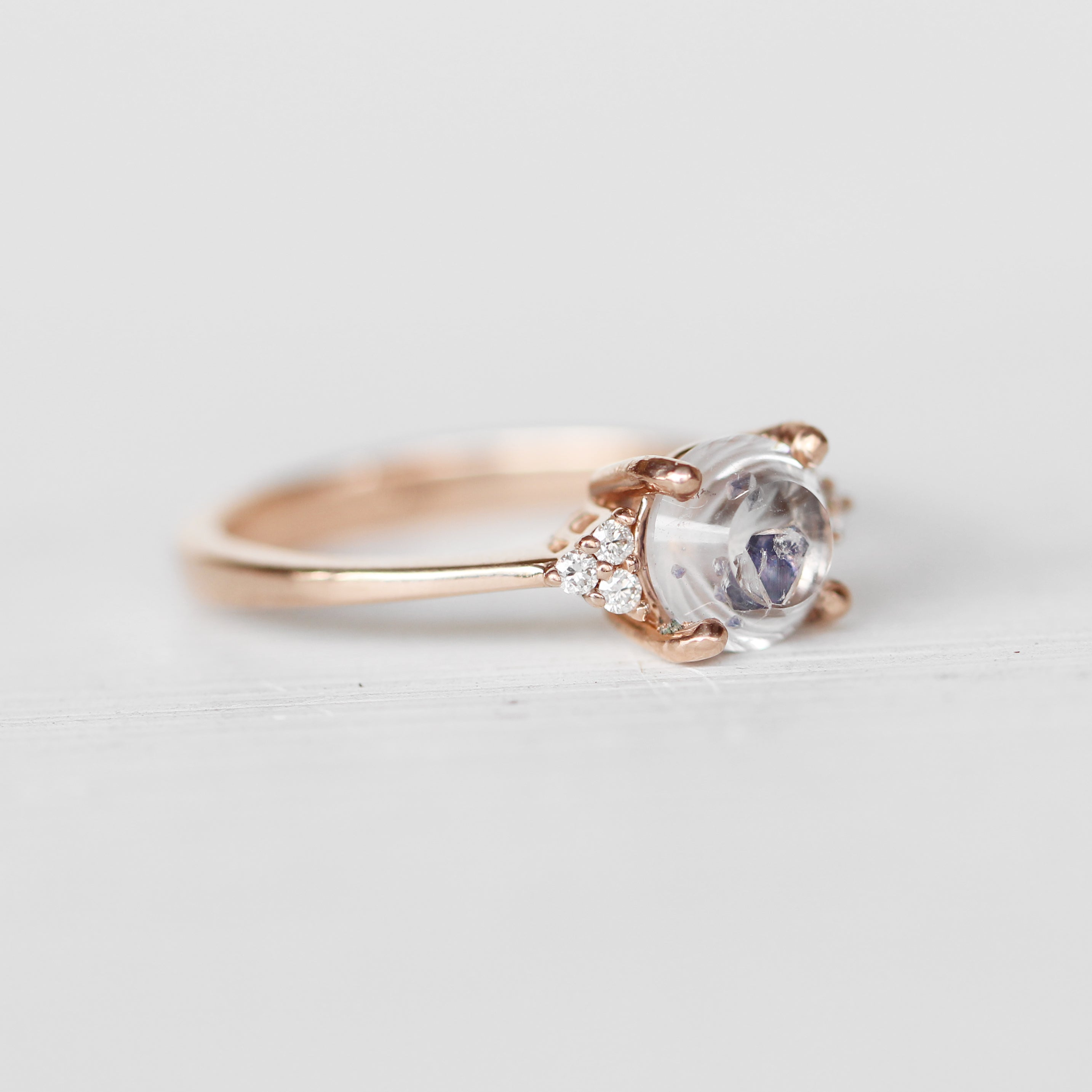 Imogene Ring with a 1.3 ct Fluorite Quartz in 14k Rose Gold - Ready to Size and Ship - Celestial Diamonds ® by Midwinter Co.