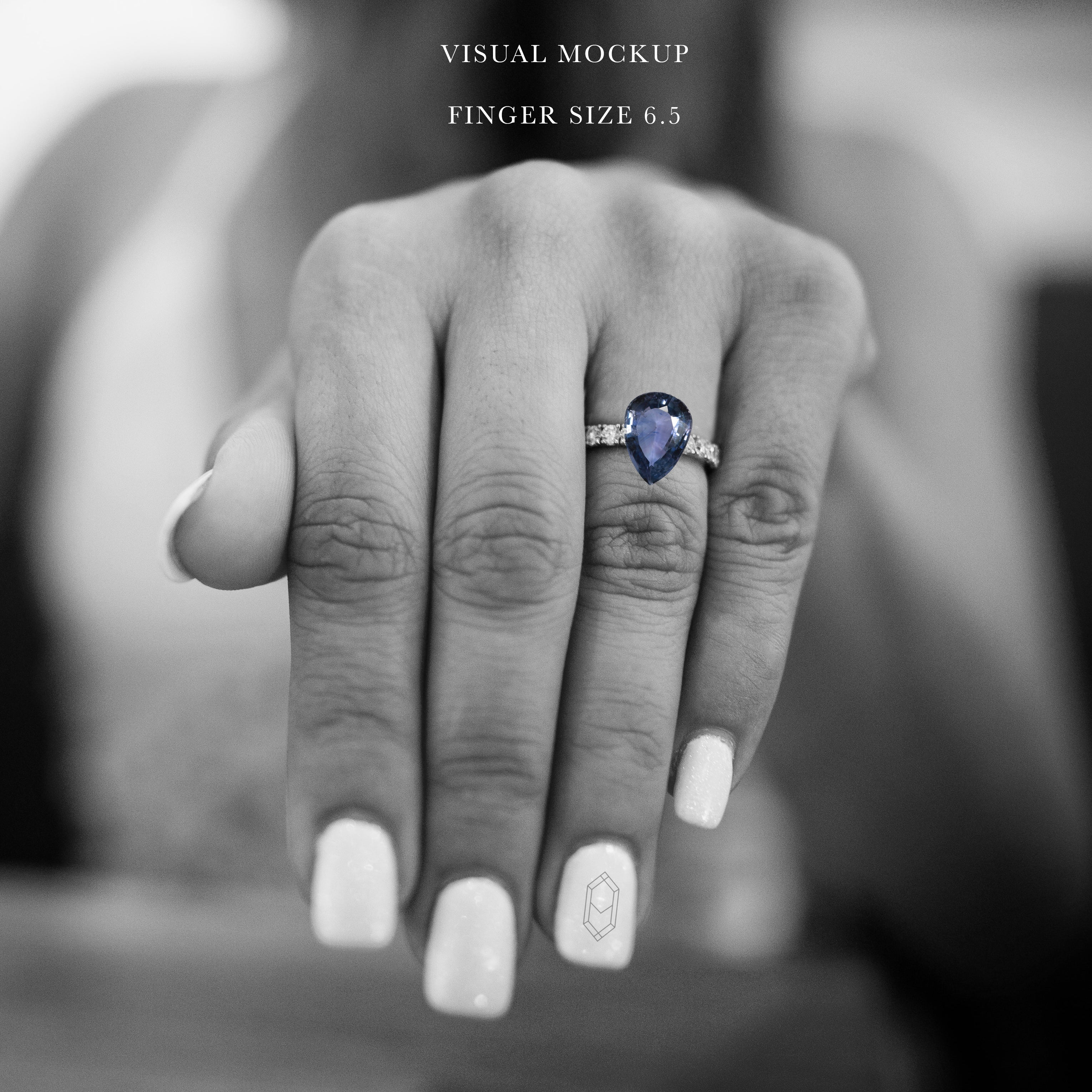 2.90 carat blue pear sapphire - custom work - inventory code: BPSA290 - Salt & Pepper Celestial Diamond Engagement Rings and Wedding Bands  by Midwinter Co.