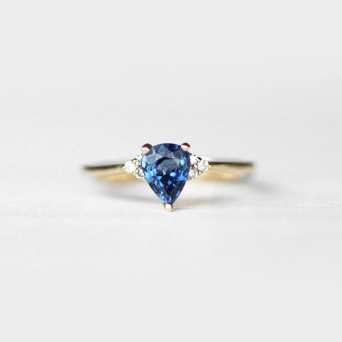 Imogene with Blue Sapphire and White Diamonds in 14k Yellow Gold - Ready to size and ship