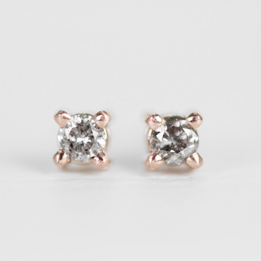 2.8mm Gray Diamond Earring Studs in 14k rose gold - One of a kind, ready to ship