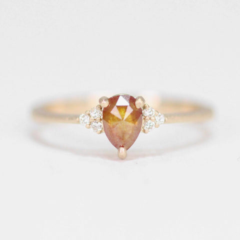 Imogene Ring with Cognac and White Diamonds in 10k Yellow Gold - Ready to size and ship