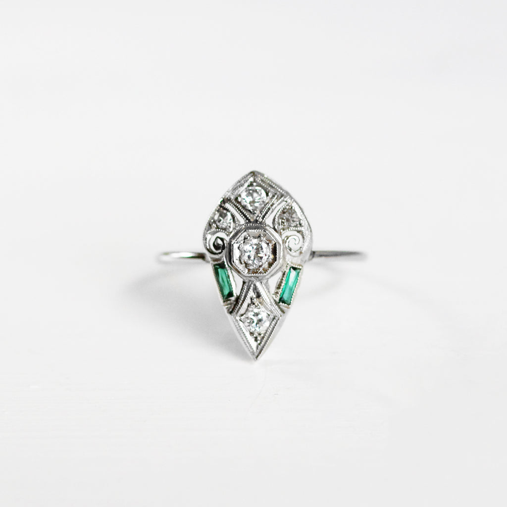 Arthur - 14k white gold Diamond and Tourmaline antique conversion ring - art deco - ready to size and ship - one of a kind