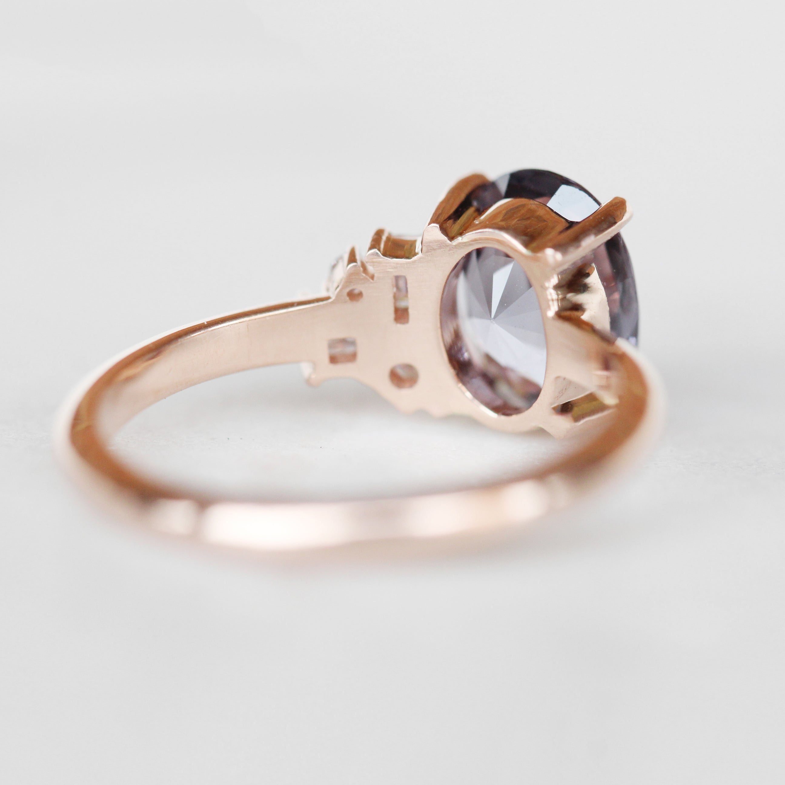 Abigail Ring with a 2.03 Carat Oval Sapphire and a Cluster Diamonds in 14k Rose Gold - Ready to Size and Ship - Salt & Pepper Celestial Diamond Engagement Rings and Wedding Bands  by Midwinter Co.