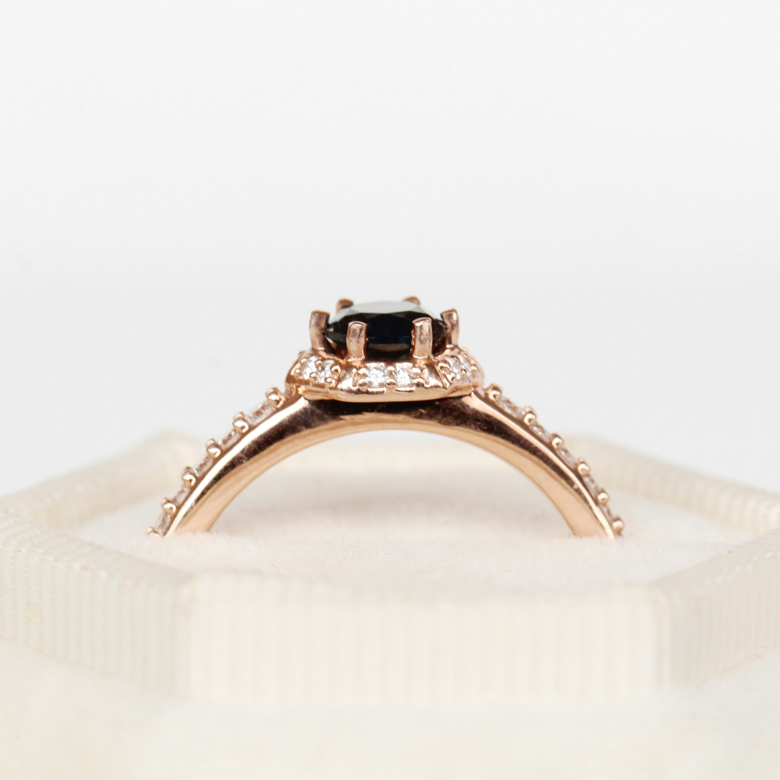 Adrien Ring with a Sapphire and Diamonds in 10k Rose Gold - Ready to Size and Ship