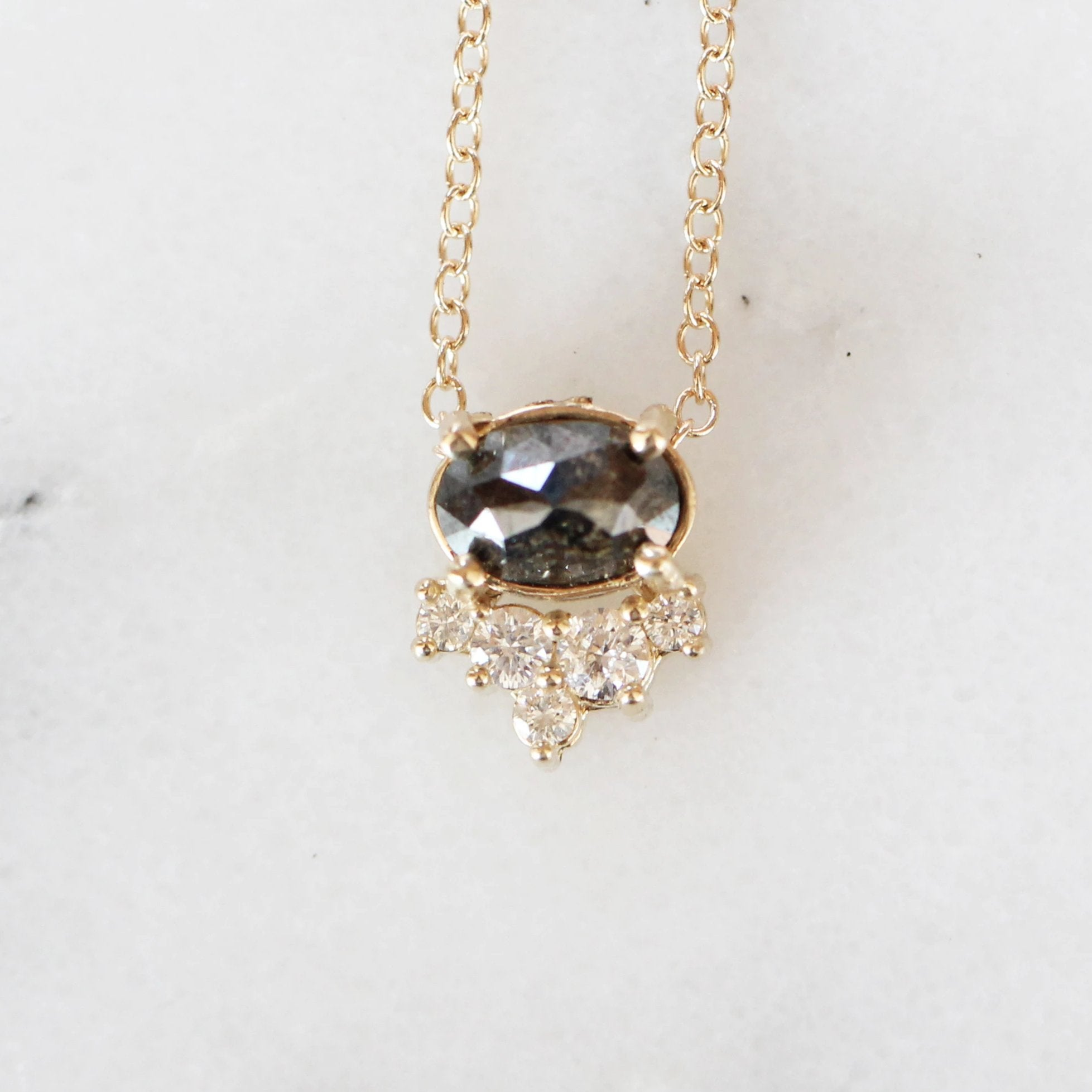 Allie - Petite Black Oval Diamond 14k Yellow Gold Necklace - Ready to Ship