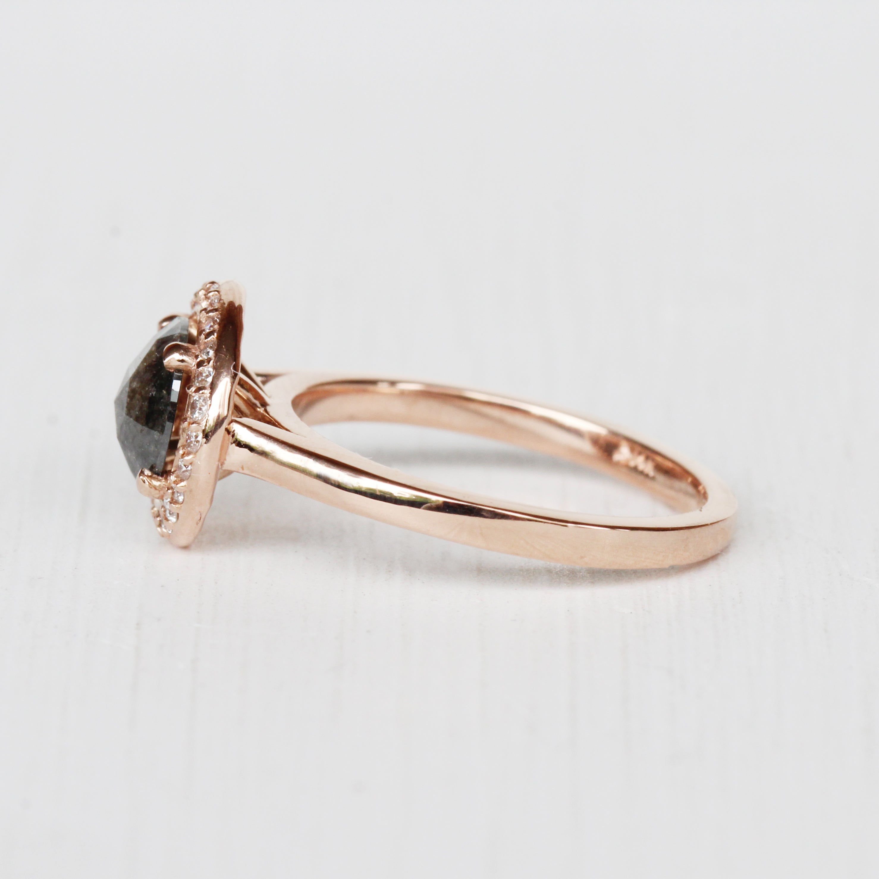Amara Ring with a Celestial Black Diamond in 14k Rose Gold - Ready to Size and Ship