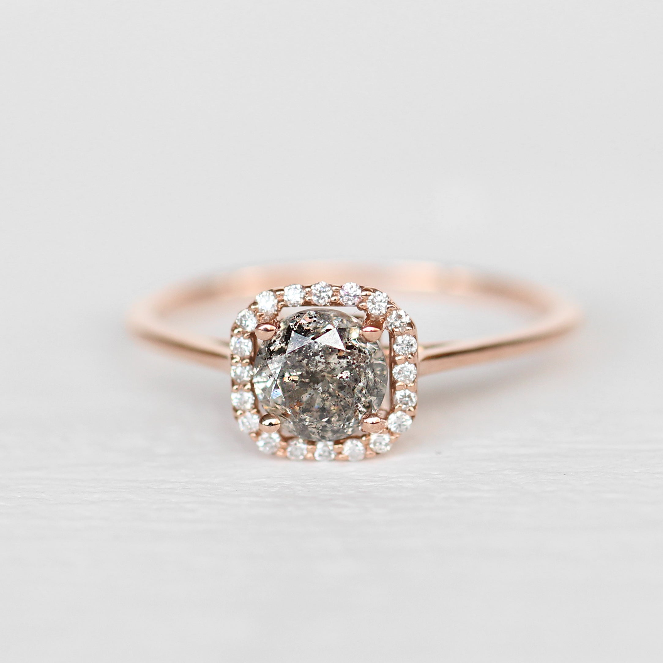 Amelia Ring with a Clear Gray Celestial Diamond in 14k Rose Gold - Ready to Size and Ship
