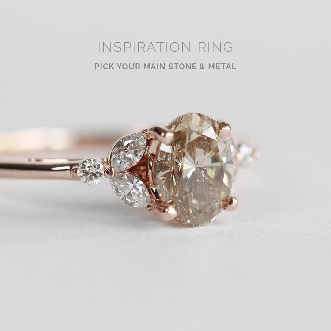 Inspiration ring - Andia ring with center diamond and metal of choice - Midwinter Co. Alternative Bridal Rings and Modern Fine Jewelry