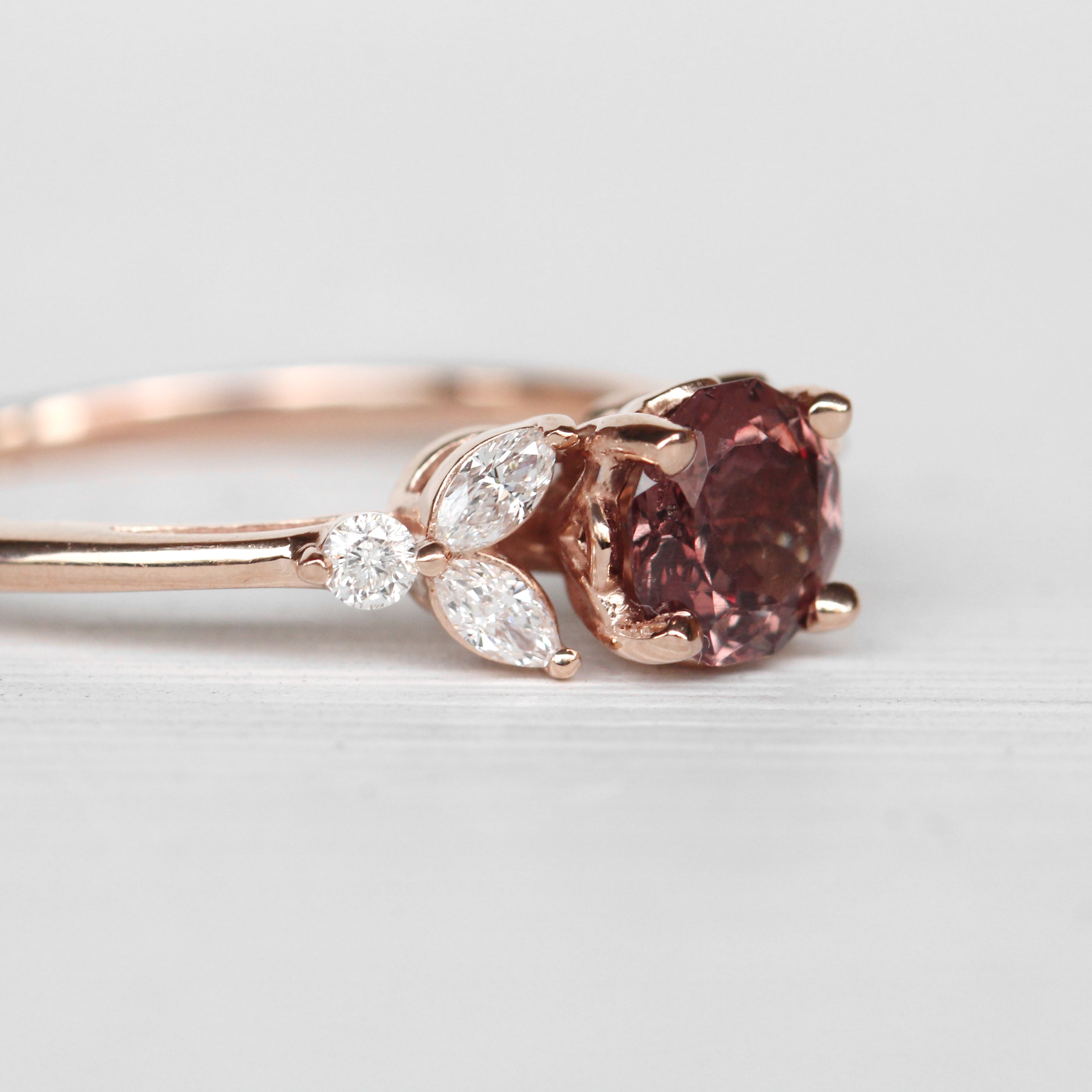 Andia Ring with a color change Garnet in 10k Rose Gold - Ready to Size and Ship