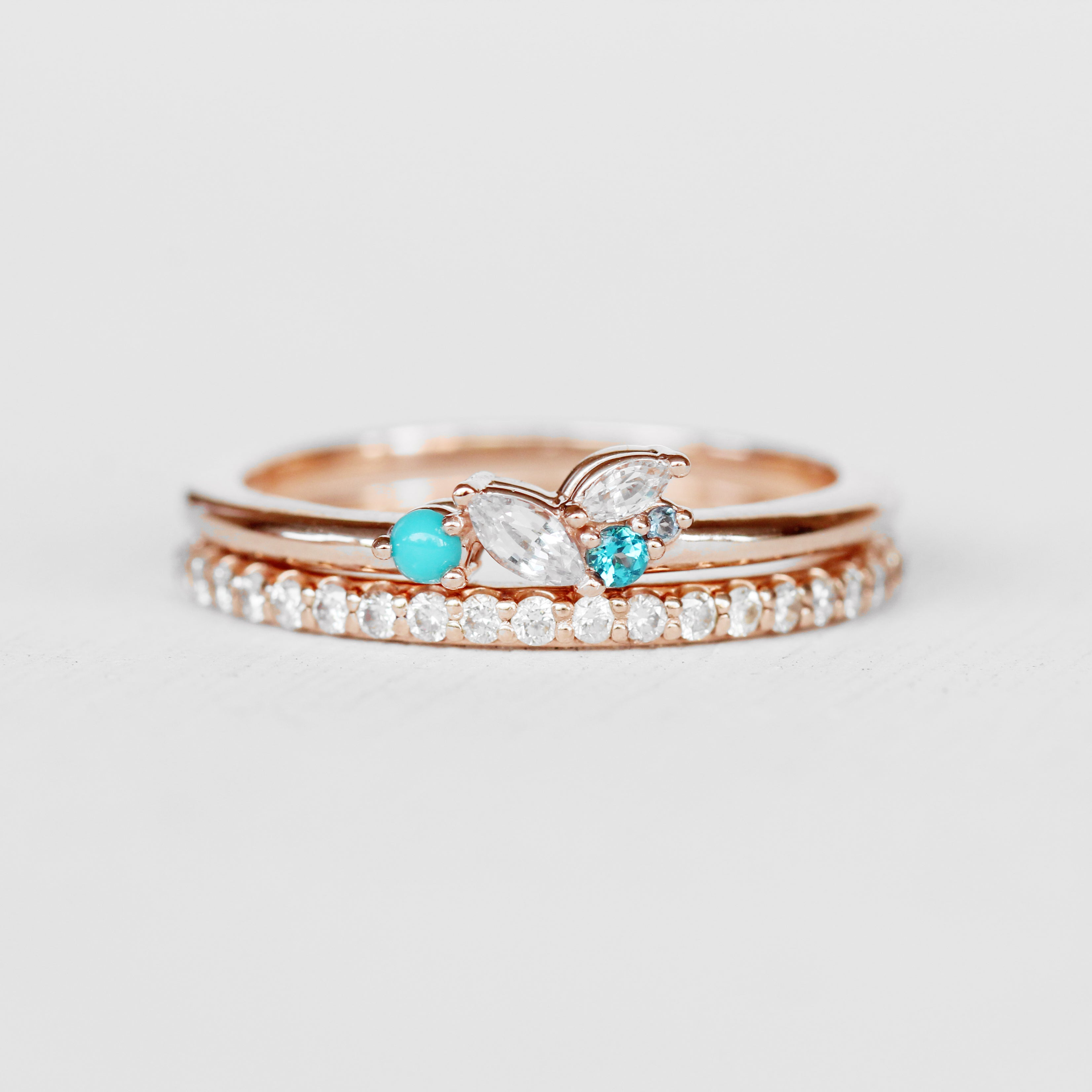 Anna Turquoise Aquamarine Sapphire Topaz Gemstone Cluster Stackable or Wedding Ring - Your choice of metal - Custom - Celestial Diamonds ® by Midwinter Co.
