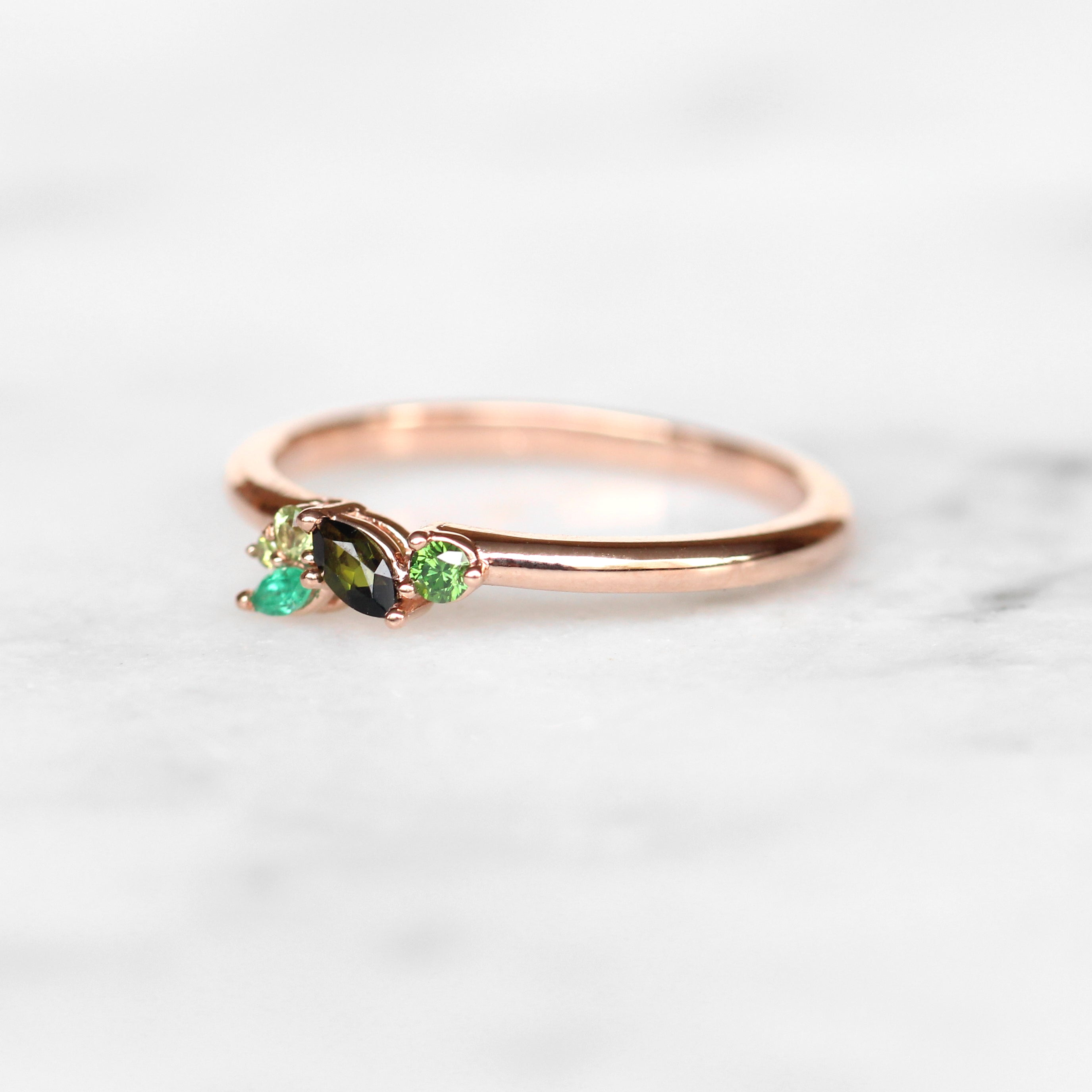 Anna Green Gemstone + Diamond Cluster Stackable or Wedding Ring - Your choice of metal - Custom - Midwinter Co. Alternative Bridal Rings and Modern Fine Jewelry