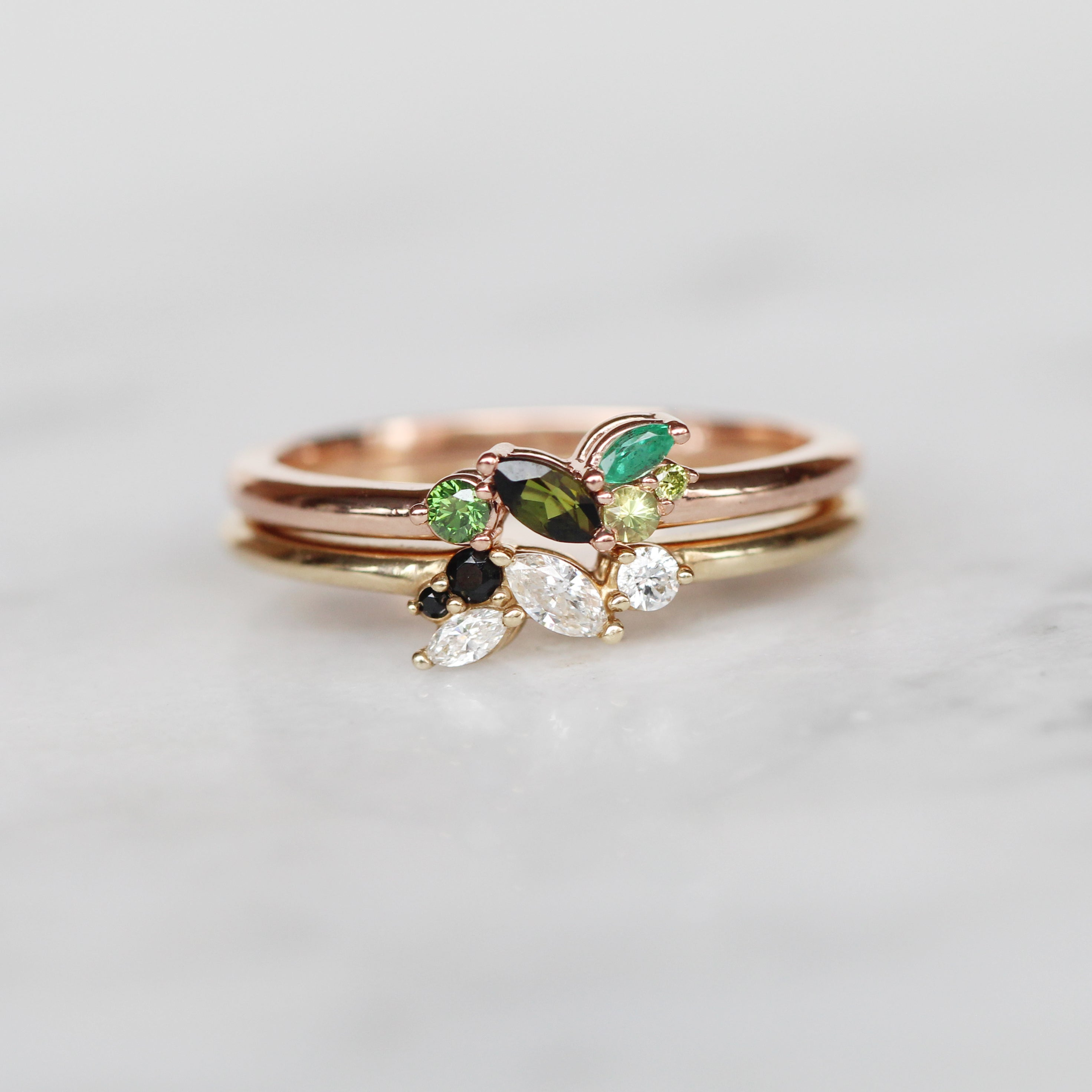 Anna Green Gemstone + Diamond Cluster Stackable or Wedding Ring - Your choice of metal - Custom - Celestial Diamonds ® by Midwinter Co.