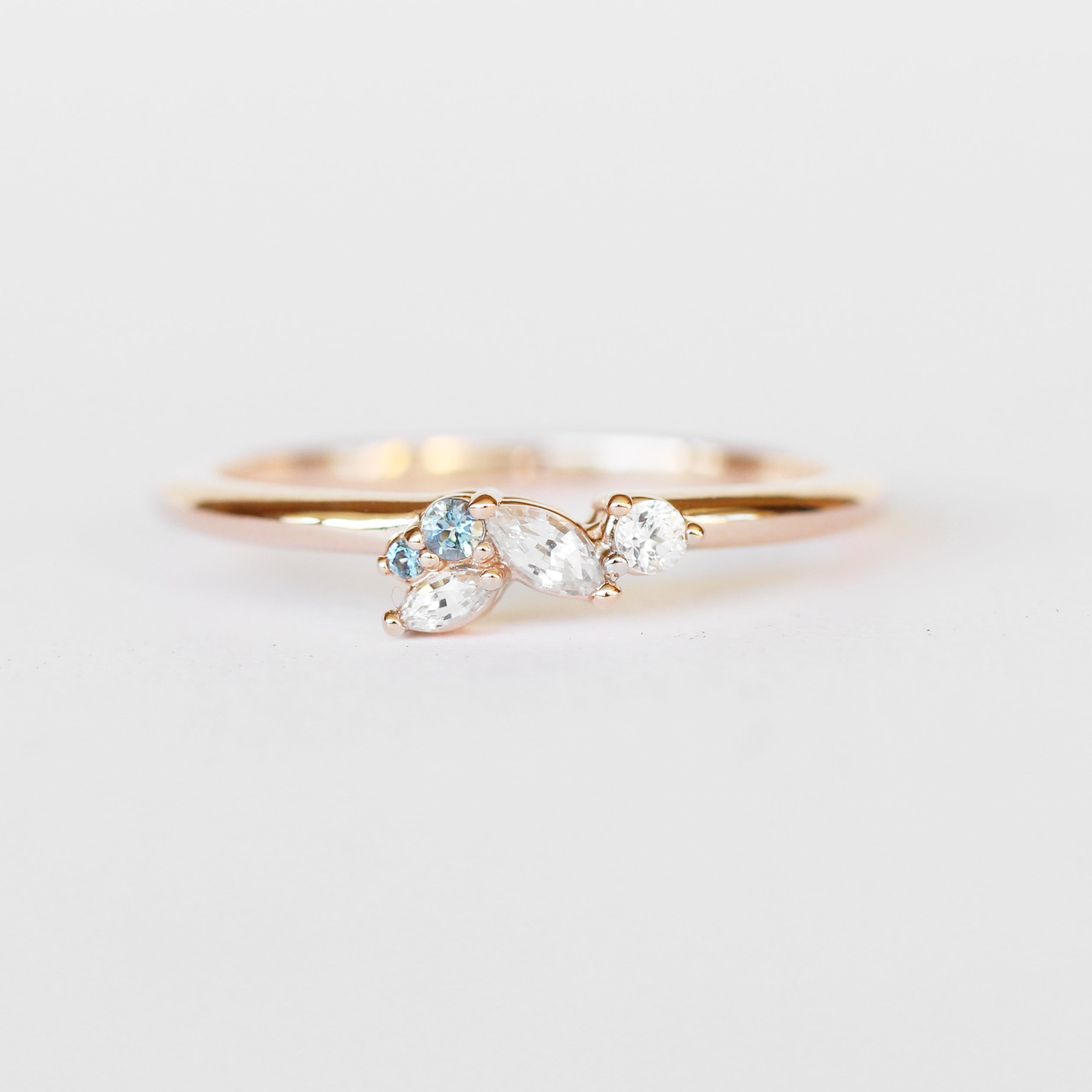 Anna Sapphire + Aquamarine Gemstone Cluster Stackable or Wedding Ring in 10k Rose Gold - Ready to Size and Ship - Celestial Diamonds ® by Midwinter Co.