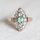 Genne -  Antique Diamond and Emerald ring in 14k rose gold - victorian