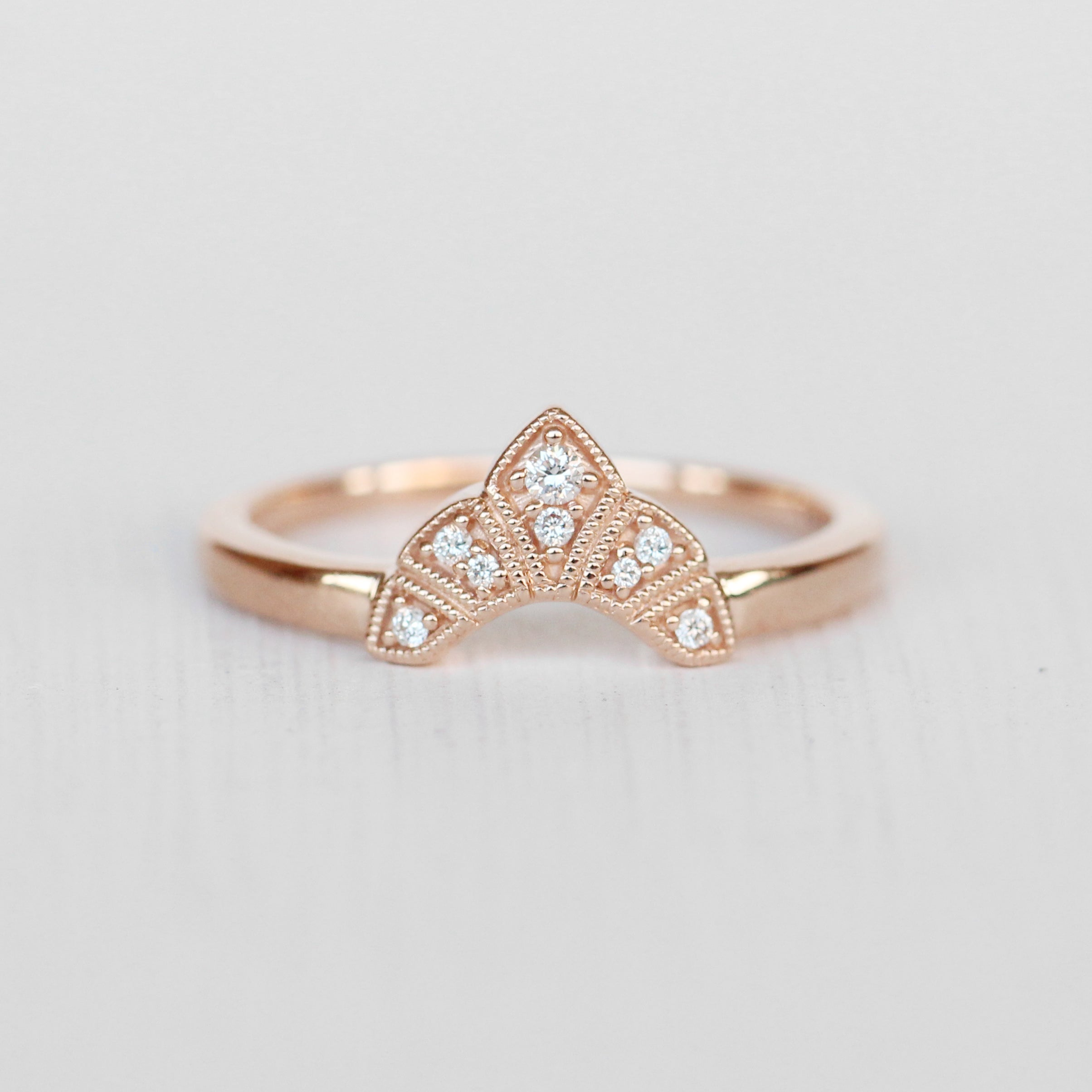 Antoinette - Contoured Diamond Wedding Stacking Band - made to order - Midwinter Co. Alternative Bridal Rings and Modern Fine Jewelry