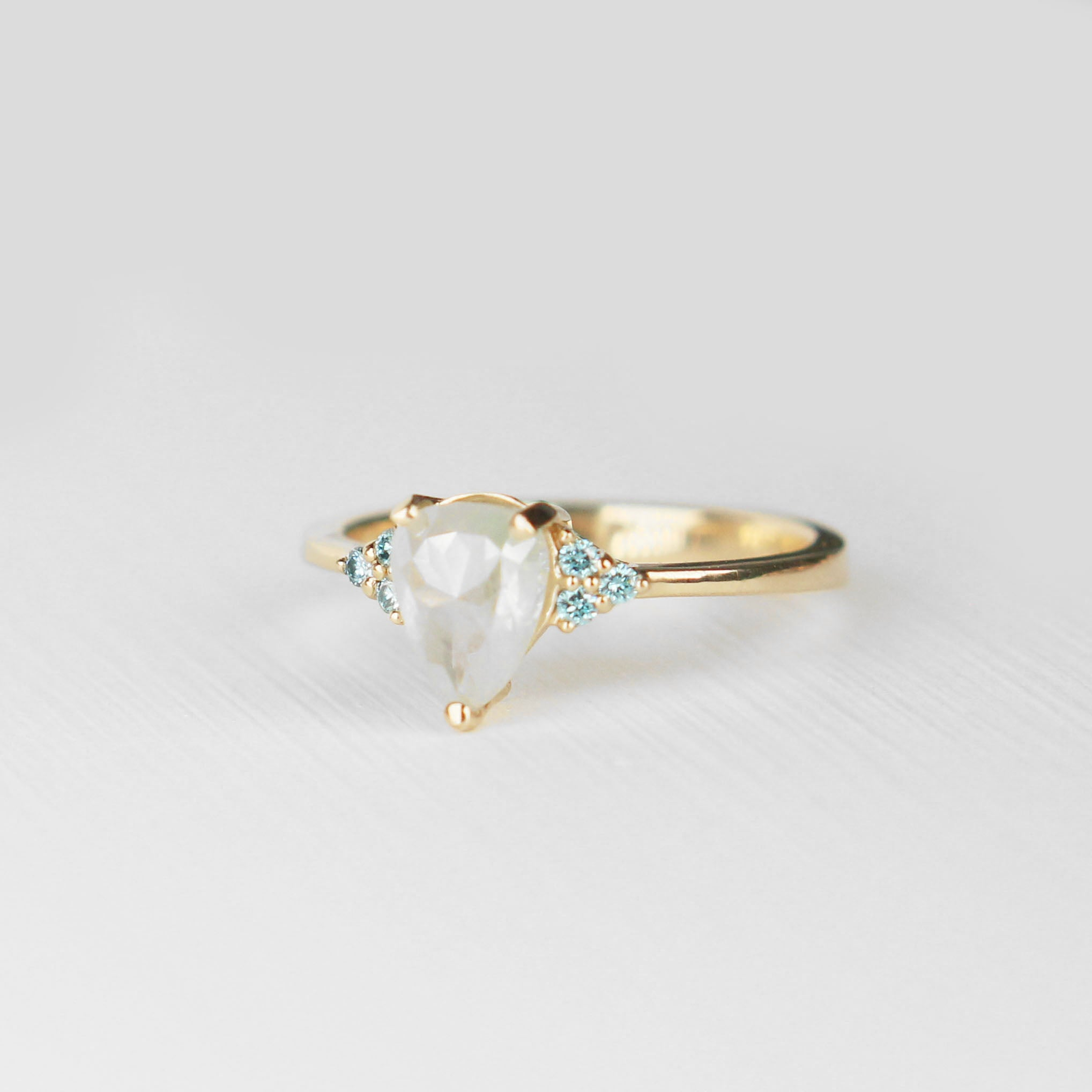 Imogene Ring - Misty aqua natural white blue diamond in 14k yellow gold - Ready to size and ship - Celestial Diamonds ® by Midwinter Co.