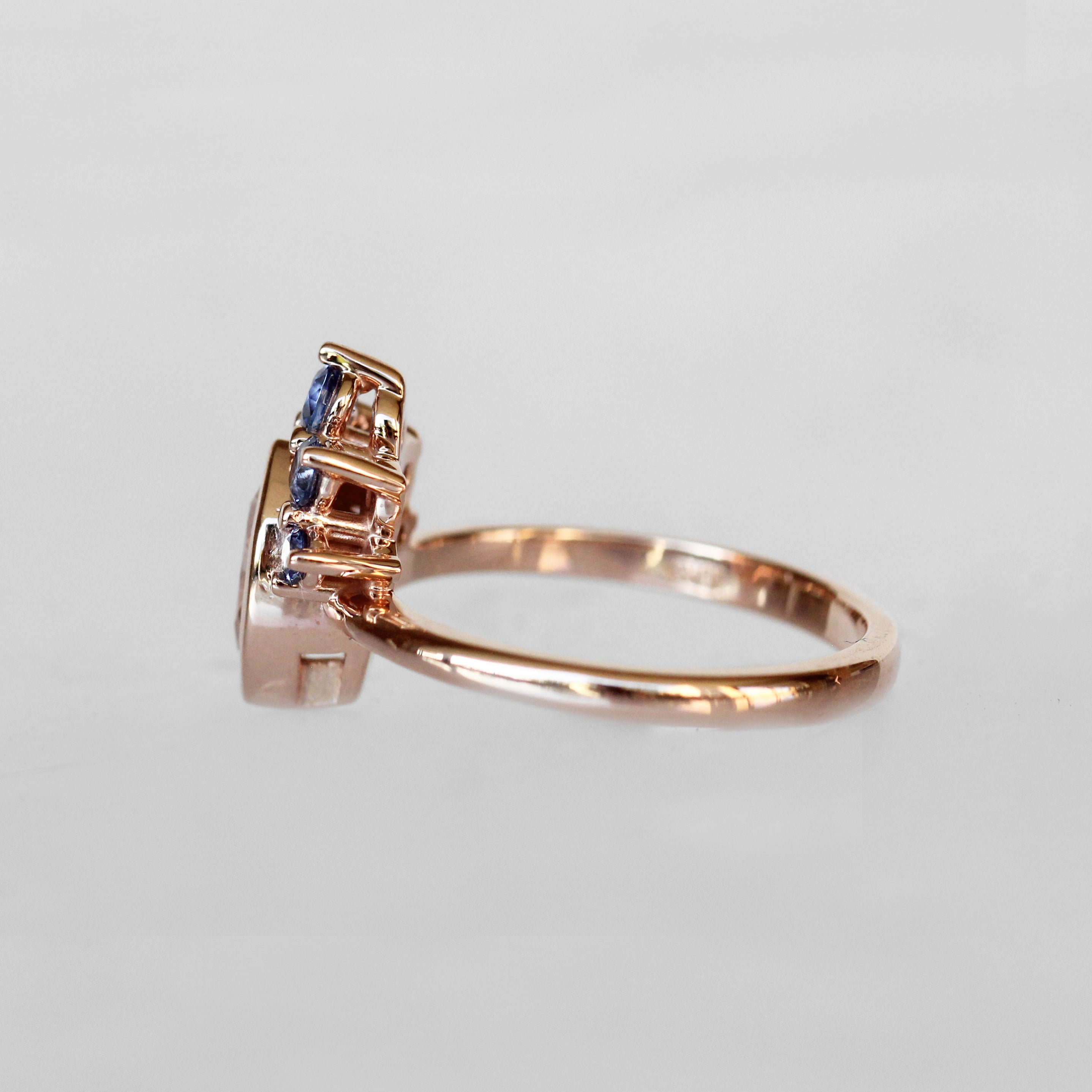 Ashlyn Ring with White Sapphire and Ceylon Blue Sapphires in 14k Rose Gold - Celestial Diamonds ® by Midwinter Co.