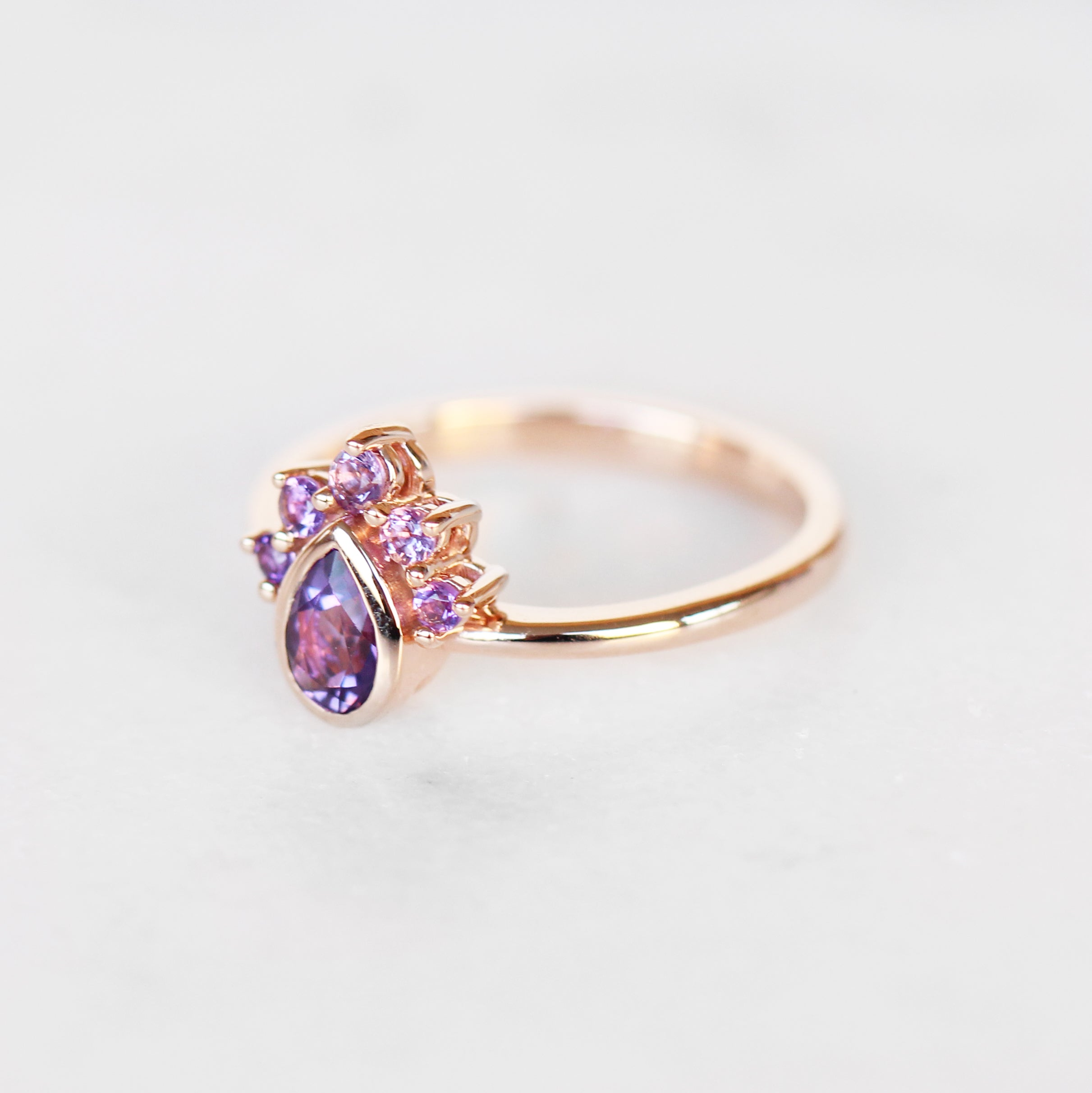 Ashlyn Amethyst Ring in 14k gold of your choice - Midwinter Co. Alternative Bridal Rings and Modern Fine Jewelry