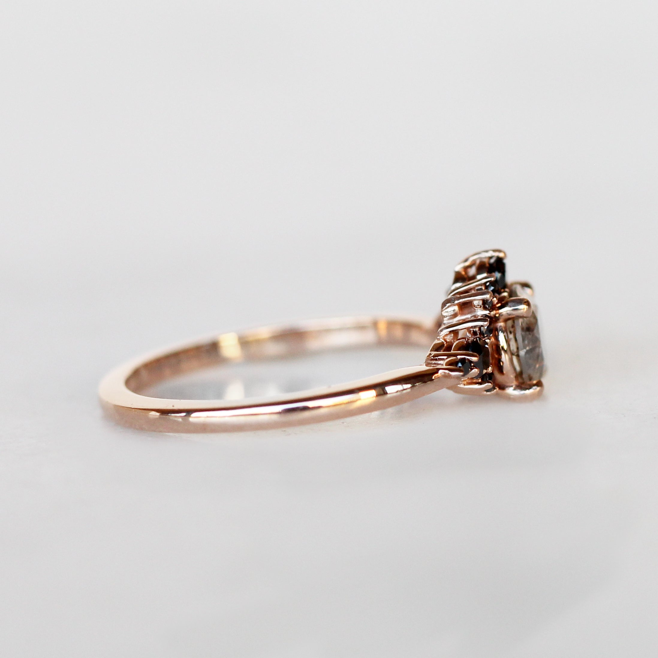 Athena Ring with a .60 ct Celestial Diamond and Black Accent Diamonds in 10k Rose Gold - Ready to Size and Ship - Celestial Diamonds ® by Midwinter Co.