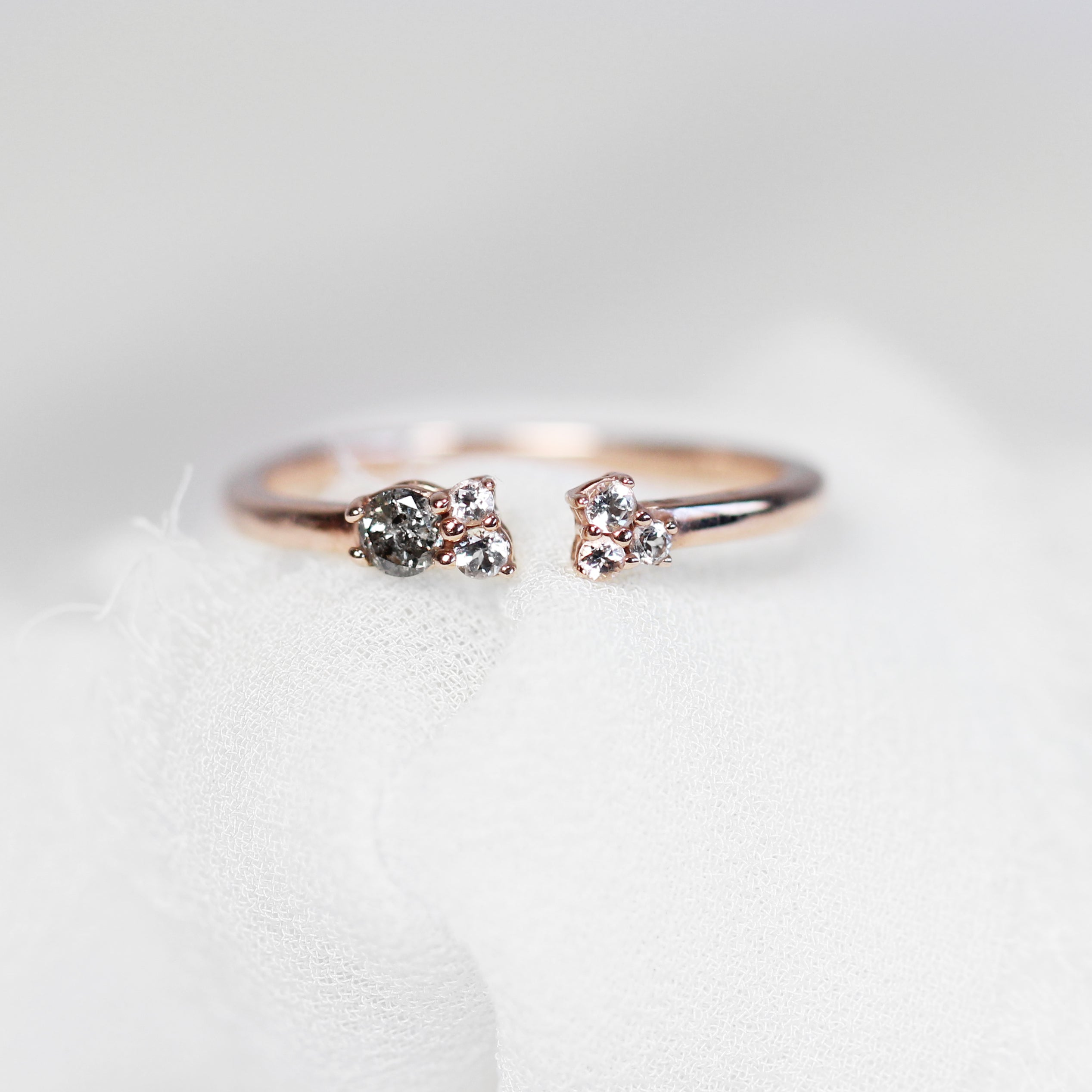 Aubrey Medium Celestical Gray and White Diamond Accents in 10k Rose Gold - Salt & Pepper Celestial Diamond Engagement Rings and Wedding Bands  by Midwinter Co.