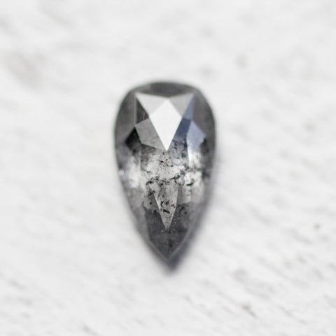 .73 carat 7.6mm very clear black Pear diamond - Stock inventory code BP73