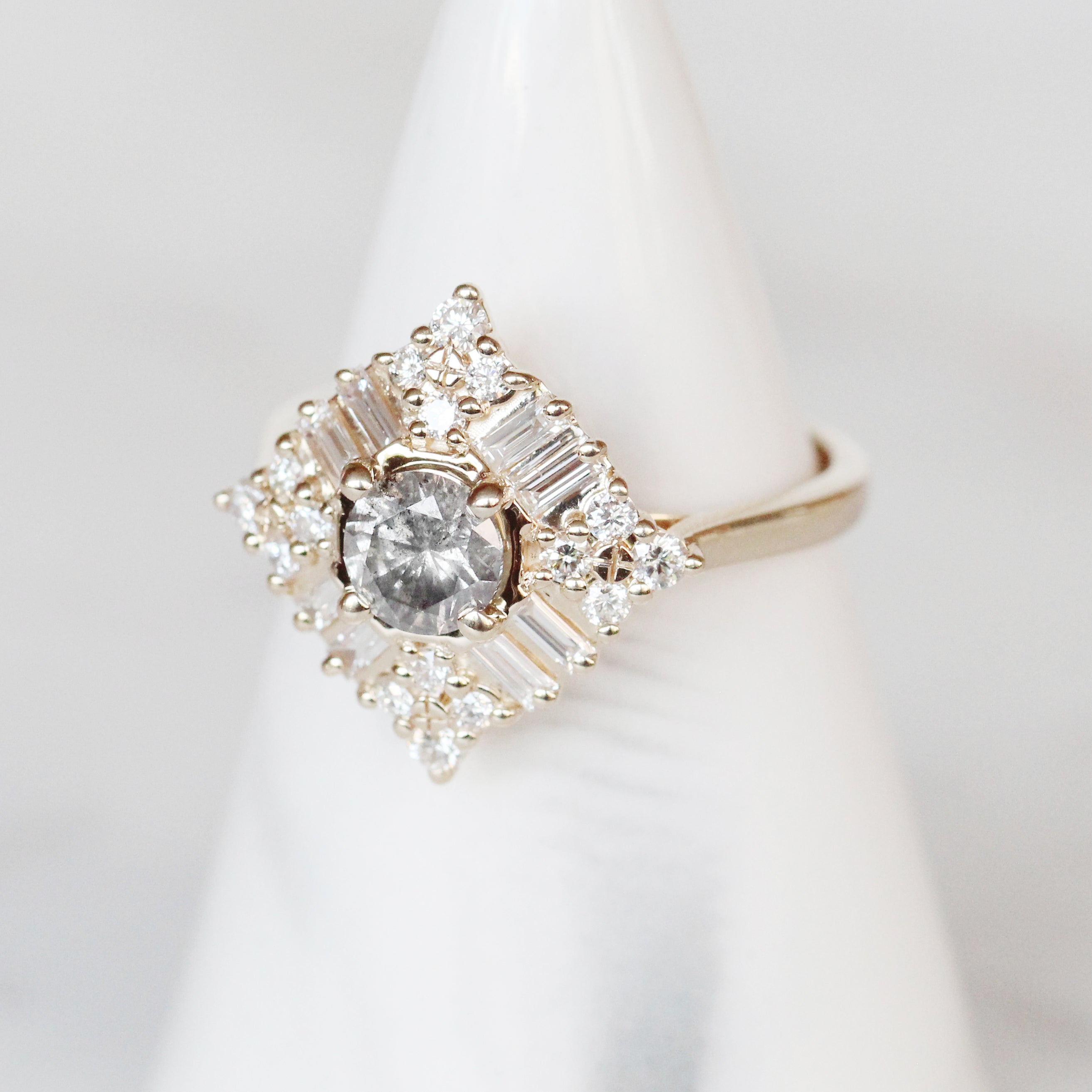Winnifred Ring with a Celestial Round Diamond and Halo in 14k Yellow Gold - Ready to Size and Ship - Midwinter Co. Alternative Bridal Rings and Modern Fine Jewelry