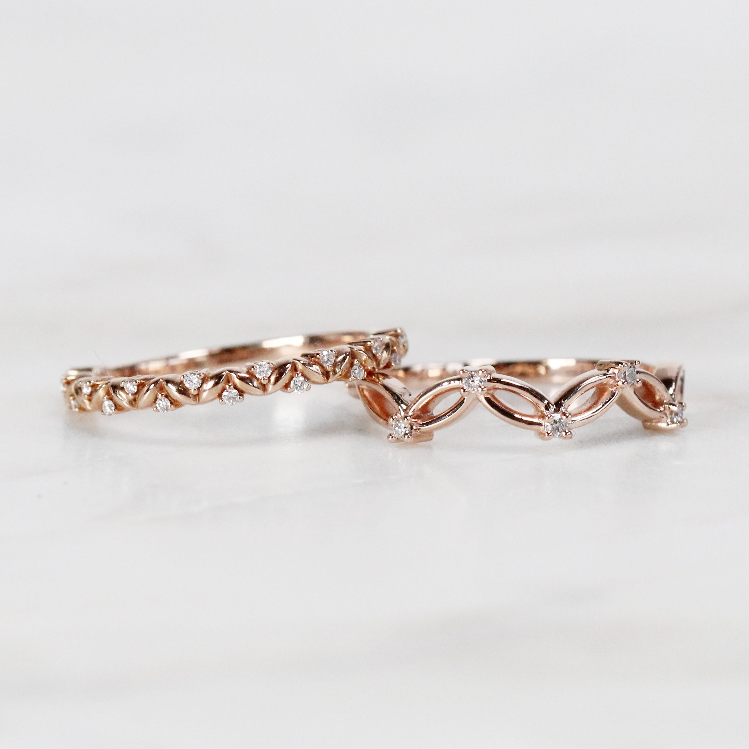 Josie Floral Leaf Diamond Wedding Stacking Band - Midwinter Co. Alternative Bridal Rings and Modern Fine Jewelry