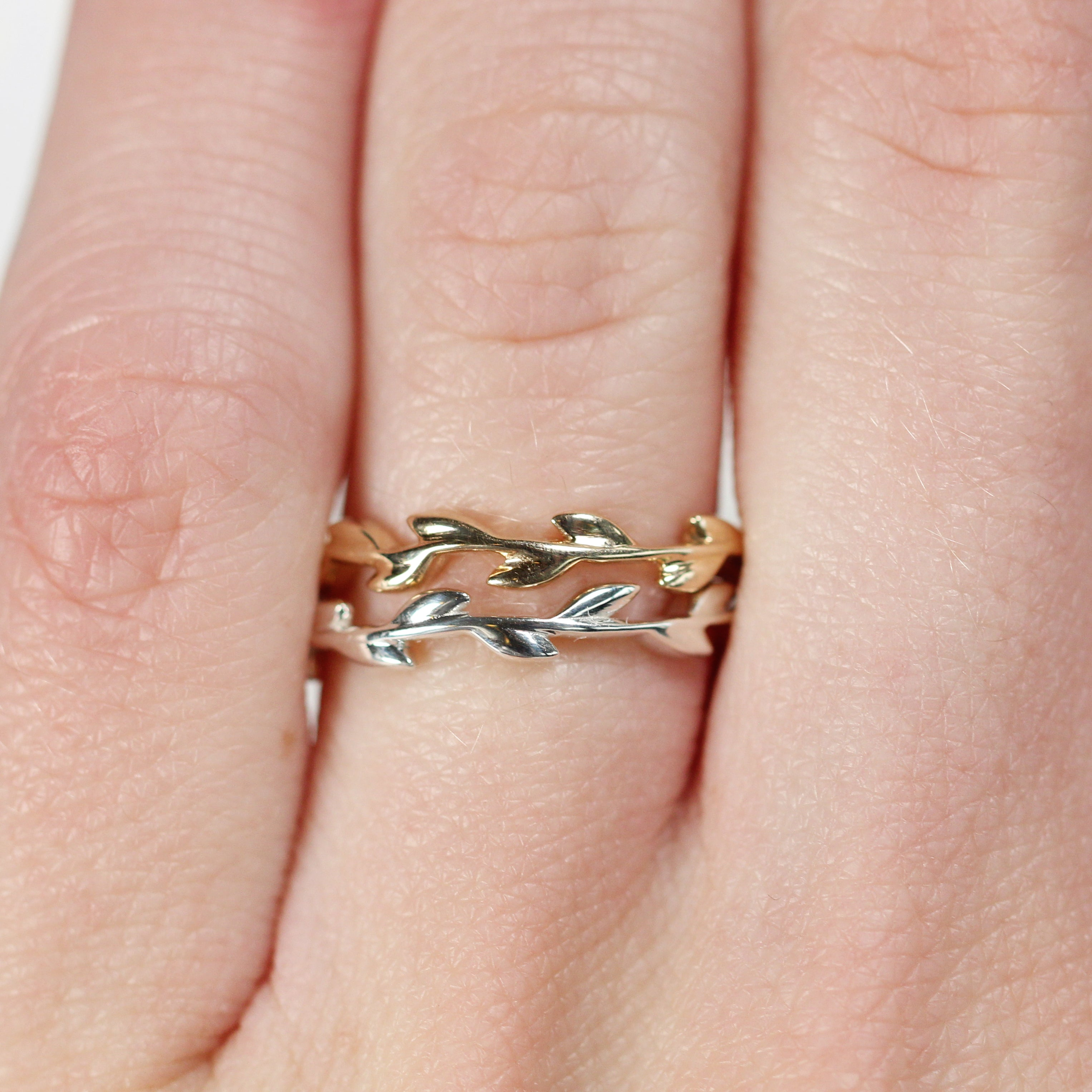 Foliage - Wedding Stacking Band in Your Choice of 14K Gold - Salt & Pepper Celestial Diamond Engagement Rings and Wedding Bands  by Midwinter Co.