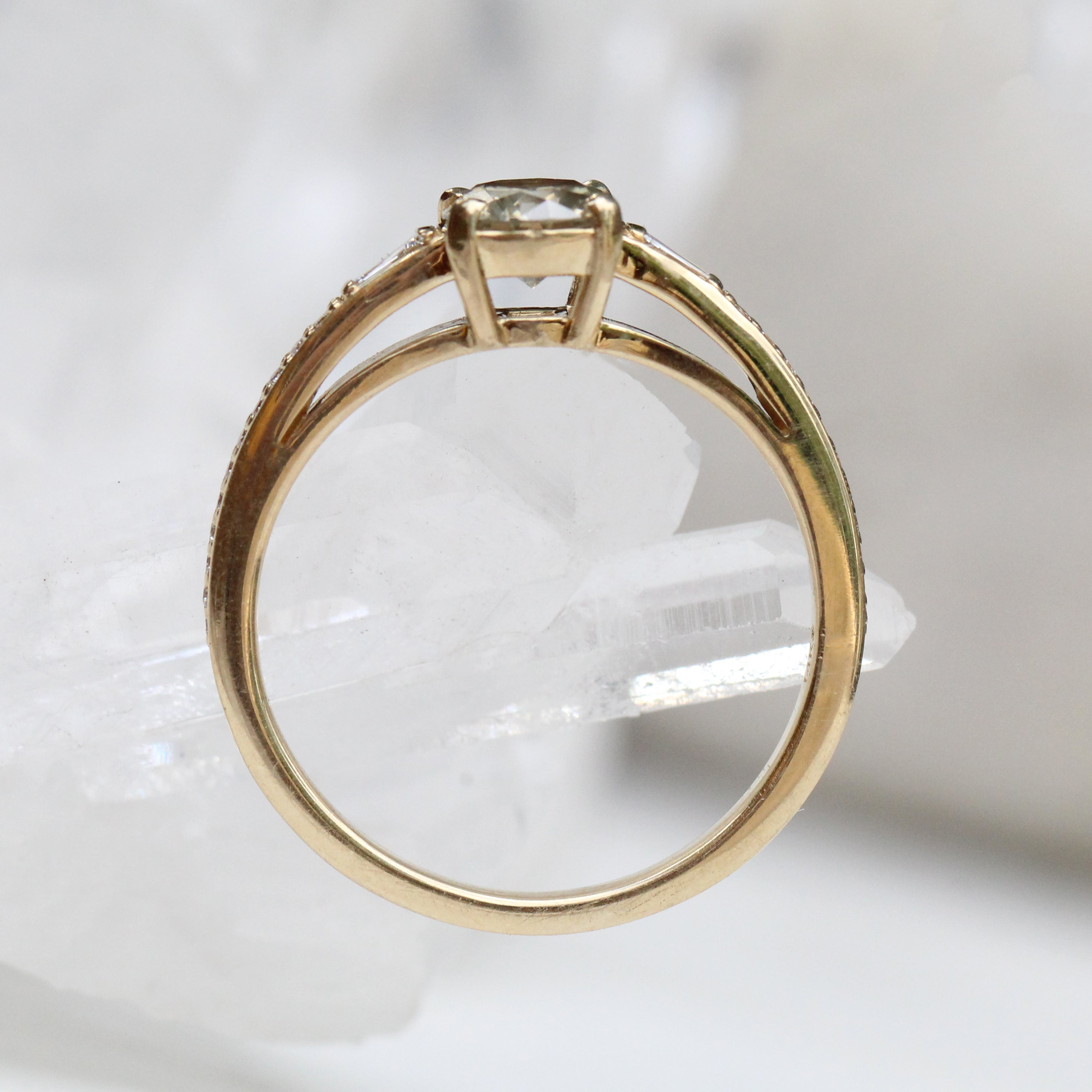 Beckett Ring with a Misty Champagne Diamond in a 14k Yellow Gold - Ready to Size and Ship - Midwinter Co. Alternative Bridal Rings and Modern Fine Jewelry