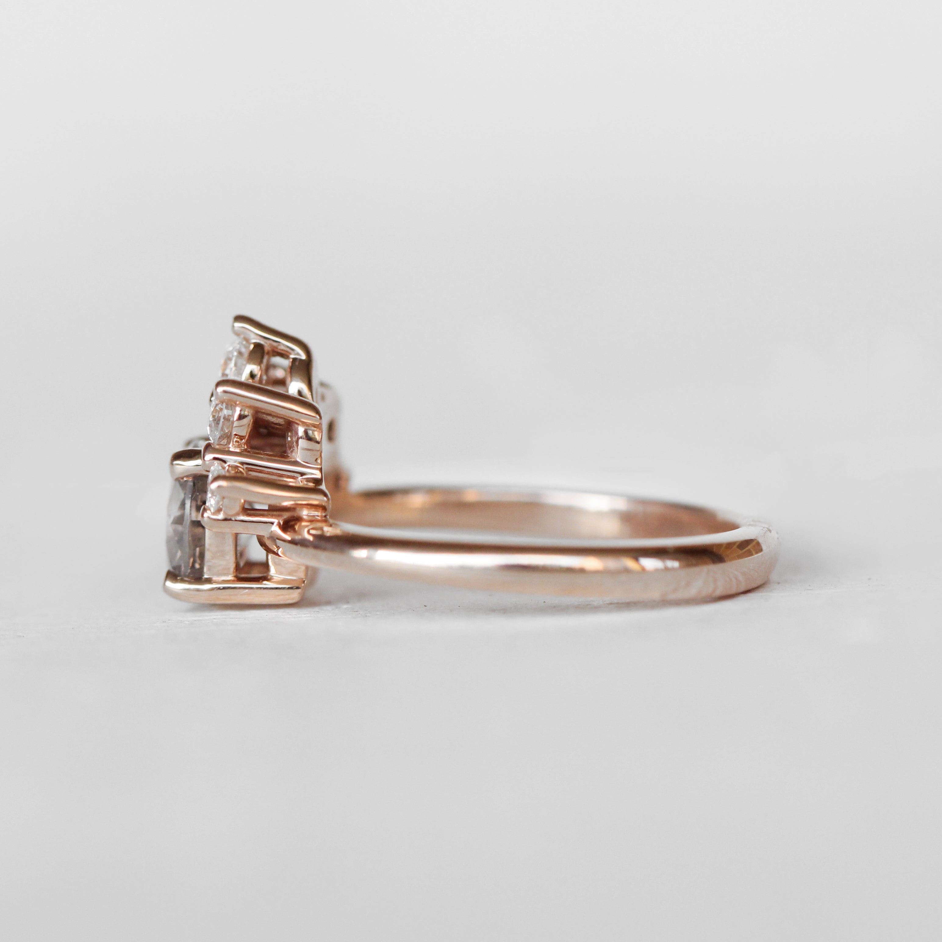Bethany Ring + Band SET with a center 1.06 carat Celestial Diamond in 10k Rose Gold - Ready to Size and Ship - Salt & Pepper Celestial Diamond Engagement Rings and Wedding Bands  by Midwinter Co.