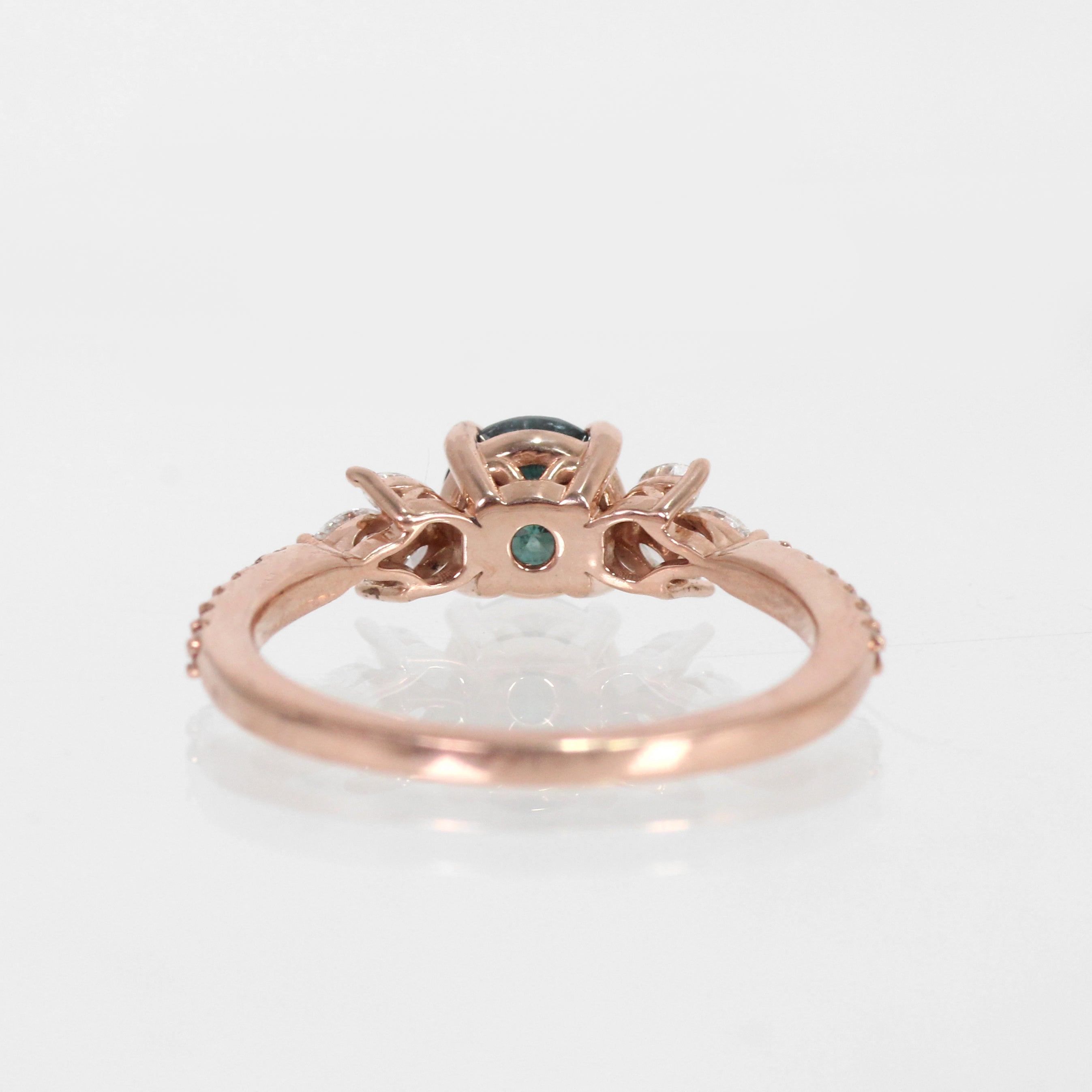 Betty Ring with Sea Green Diamond in 14k Rose Gold - Ready to Size and Ship