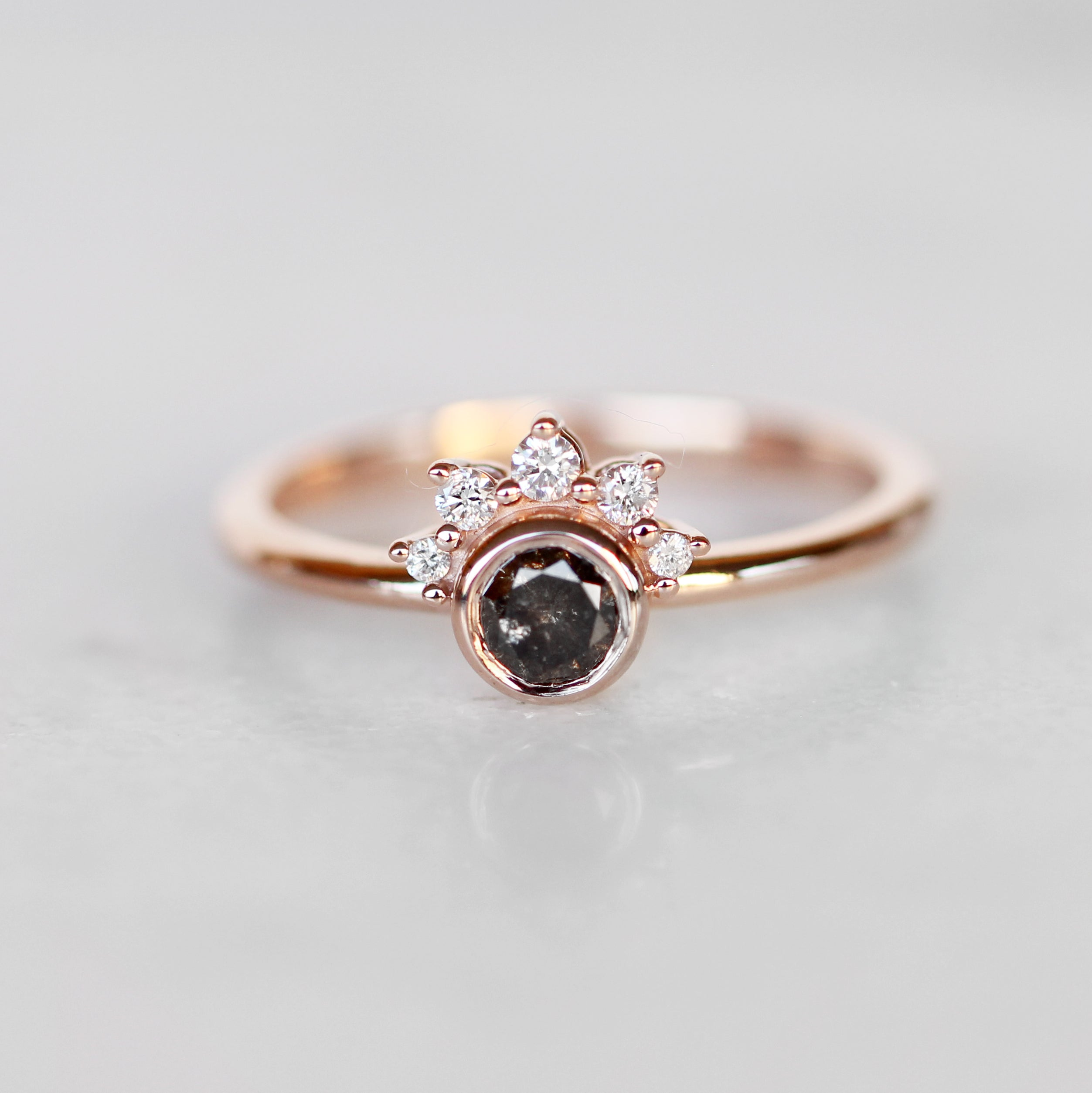 Ashlyn Ring with Black Celestial Diamond in 10k Rose Gold- Ready to Size and Ship - Salt & Pepper Celestial Diamond Engagement Rings and Wedding Bands  by Midwinter Co.