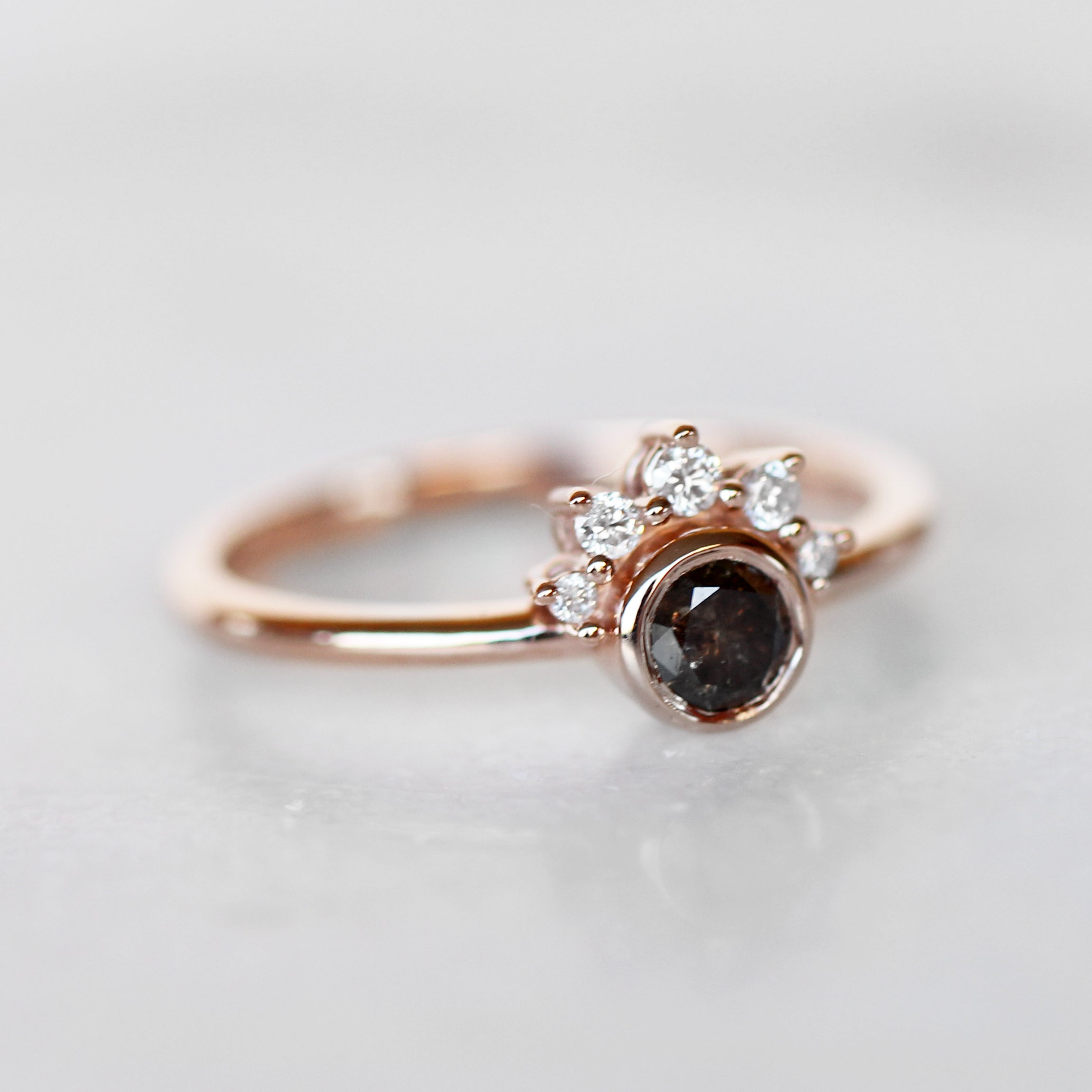 Ashlyn Ring with Black Celestial Diamond in 10k Rose Gold- Ready to Size and Ship - Midwinter Co. Alternative Bridal Rings and Modern Fine Jewelry