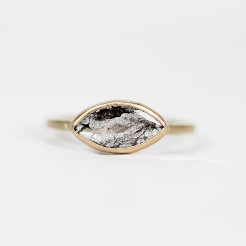 Marquise Celestial Diamond in a Bezel Set Ring in Yellow Gold - Ready to Size and Ship