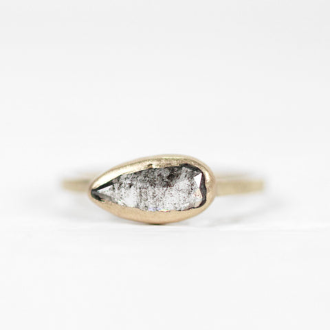 Pear Celestial Diamond in a Bezel Set Ring in Yellow Gold - Ready to Size and Ship
