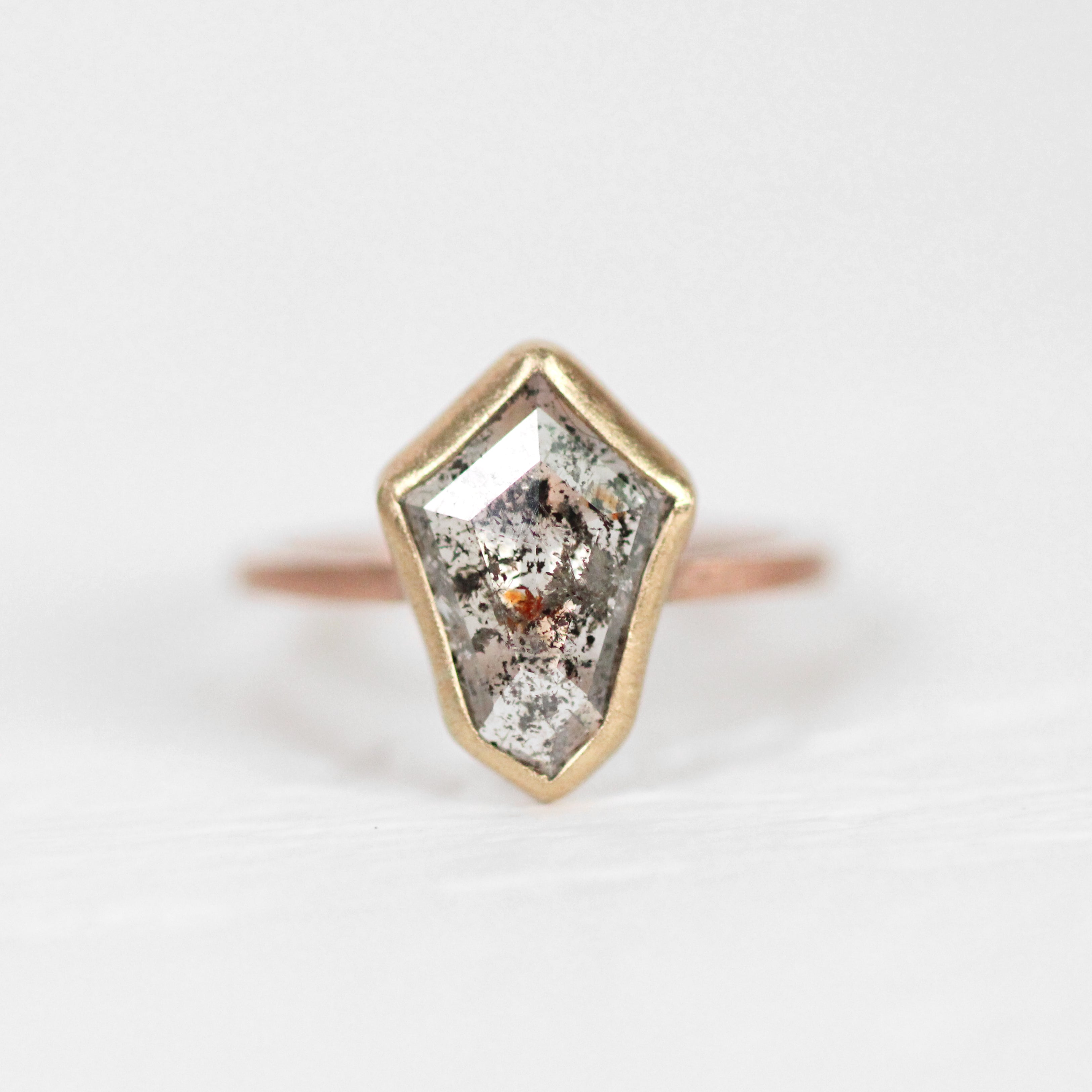 Shield Celestial Diamond in a Bezel Set Ring in rose and yellow gold - Ready to Size and Ship - Celestial Diamonds ® by Midwinter Co.