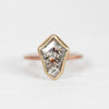 Shield Celestial Diamond in a Bezel Set Ring in rose and yellow gold - Ready to Size and Ship