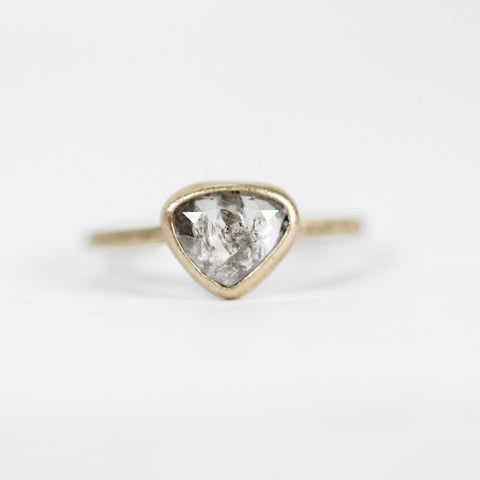 Trillion Celestial Diamond in a Bezel Set Ring in Yellow Gold - Ready to Size and Ship