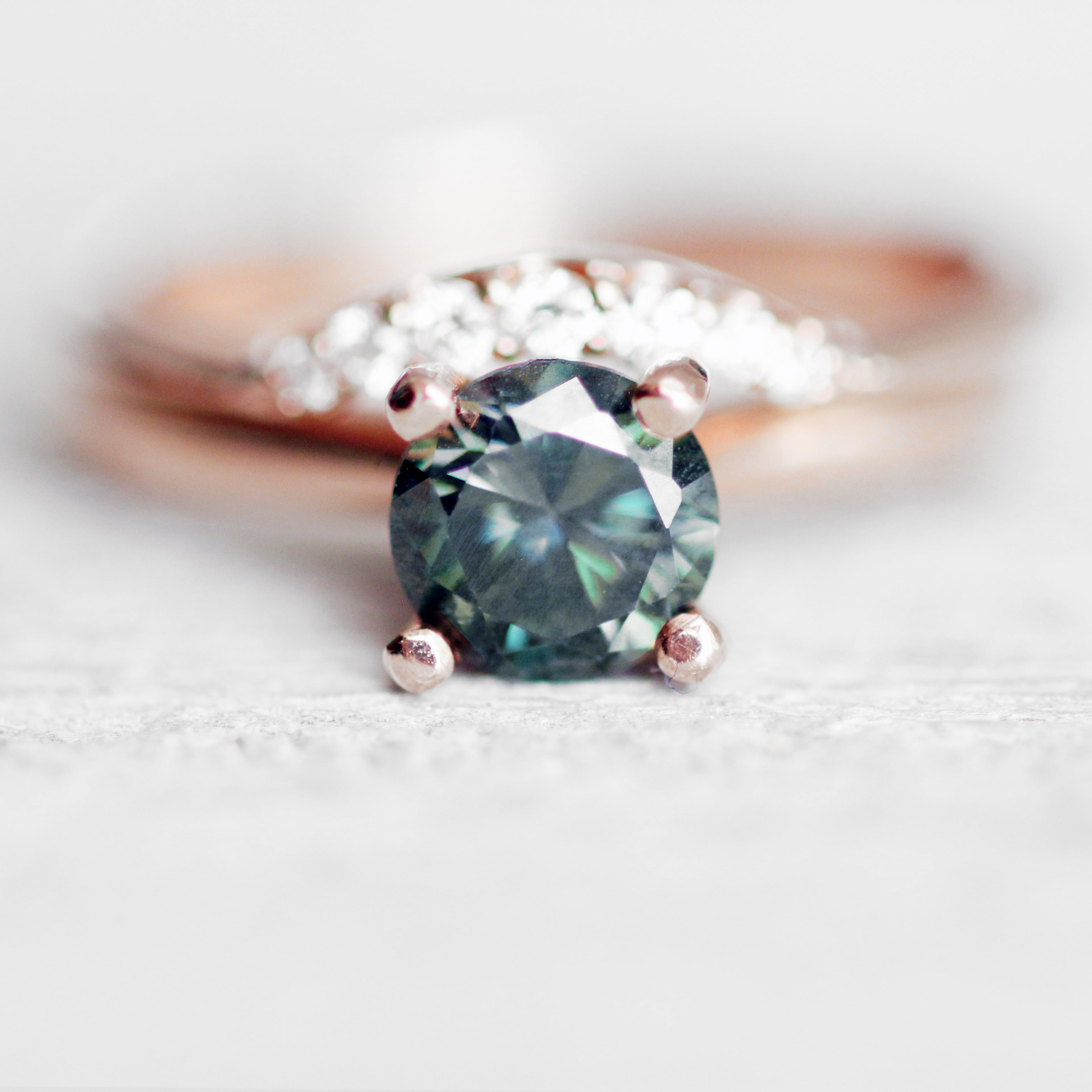 .70 carat -  Black & Teal Moissanite - Inventory Code MO70 - Salt & Pepper Celestial Diamond Engagement Rings and Wedding Bands  by Midwinter Co.