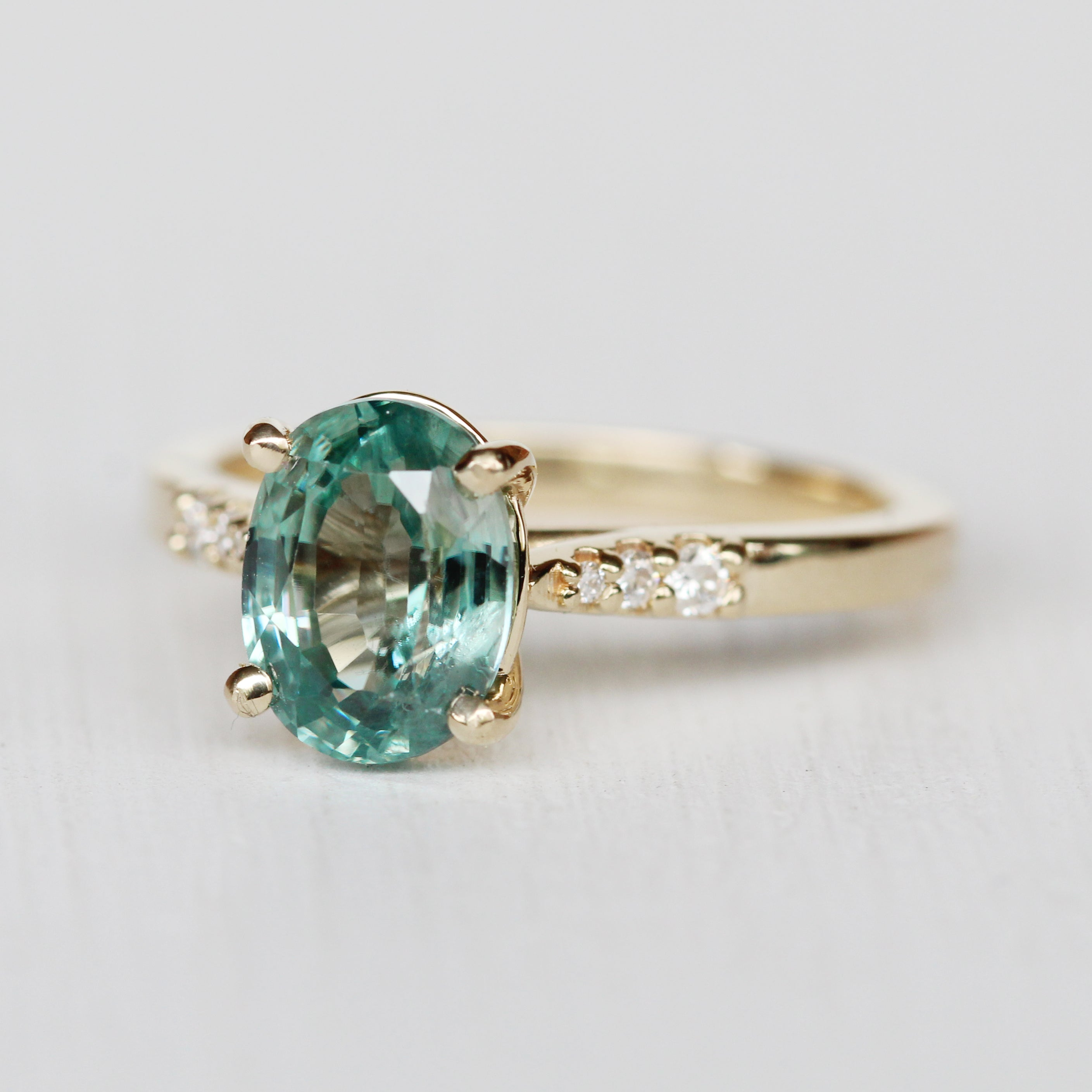 Sloan Ring with a Natural Blue Zircon in 14k Yellow Gold - Ready to Size and Ship