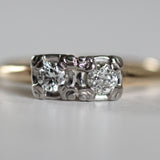 EverAnne - Double Diamond Ring - 14k yellow and white gold - Ready to size and ship
