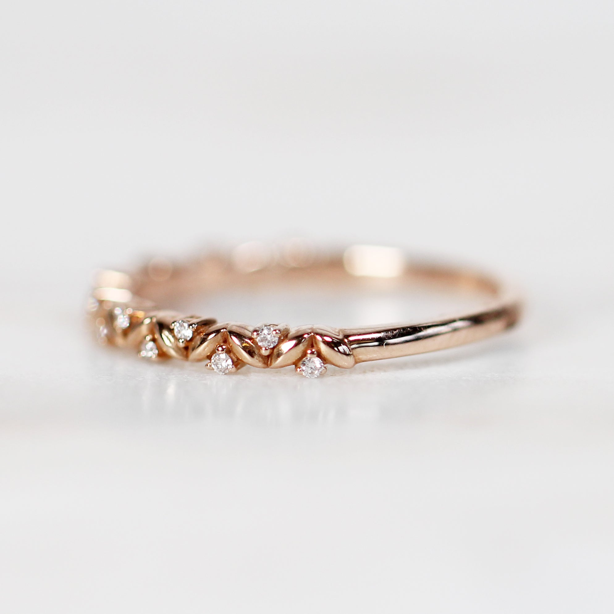 Brynn - Natural Floral Leaf Diamond Wedding or Stacking Ring Band - Salt & Pepper Celestial Diamond Engagement Rings and Wedding Bands  by Midwinter Co.